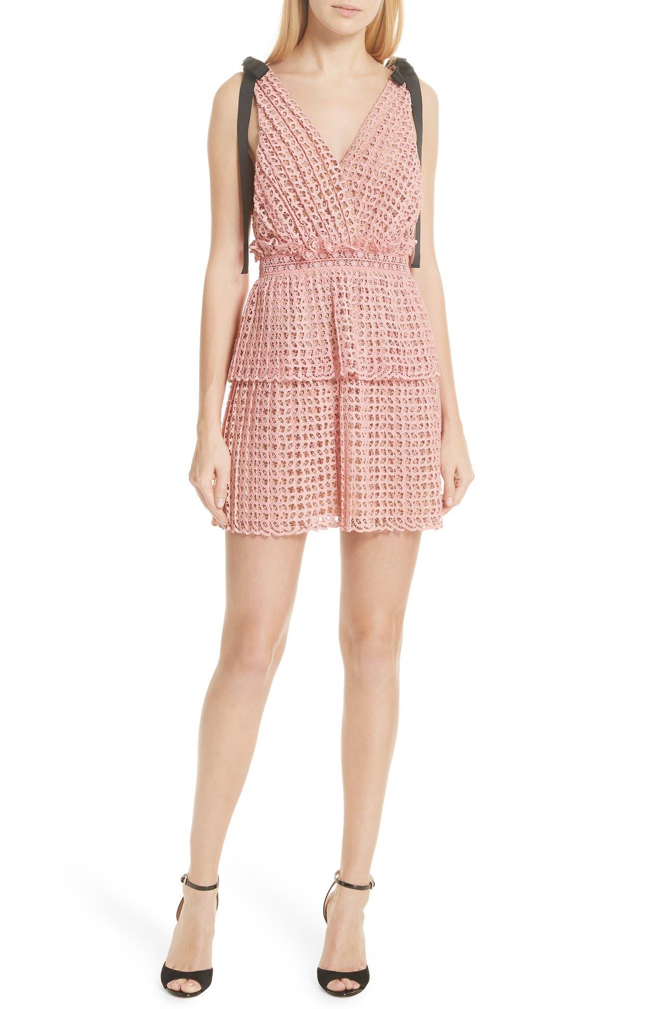 Tie Strap Cutwork Organza Dress,                         Main,                         color, Pink