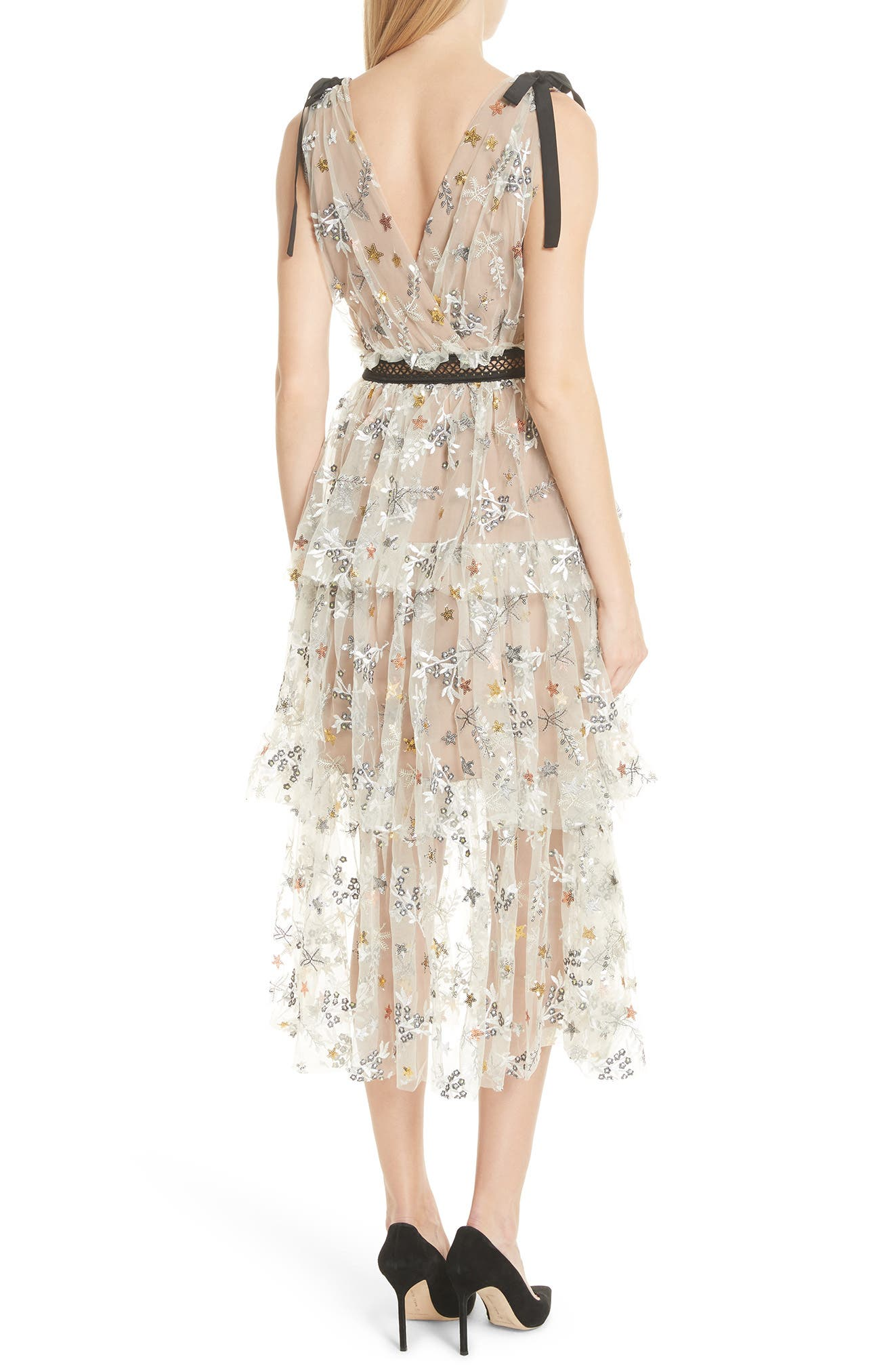 Alternate Image 2  - Self-Portrait Sequin Mesh Tie Strap Midi Dress