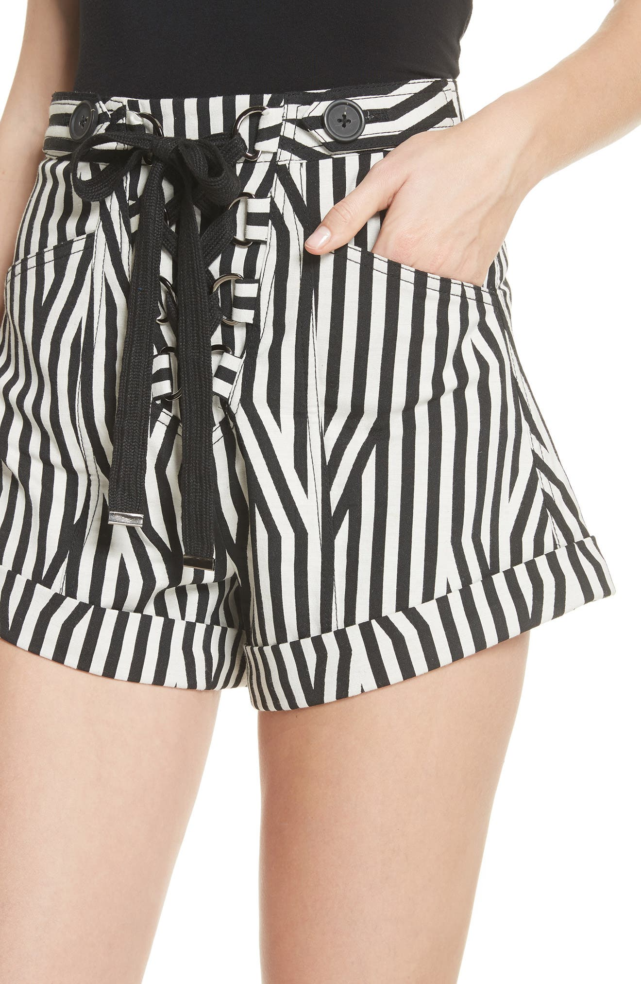 Abstract Stripe Lace-Up Shorts,                             Alternate thumbnail 4, color,                             Black/ White