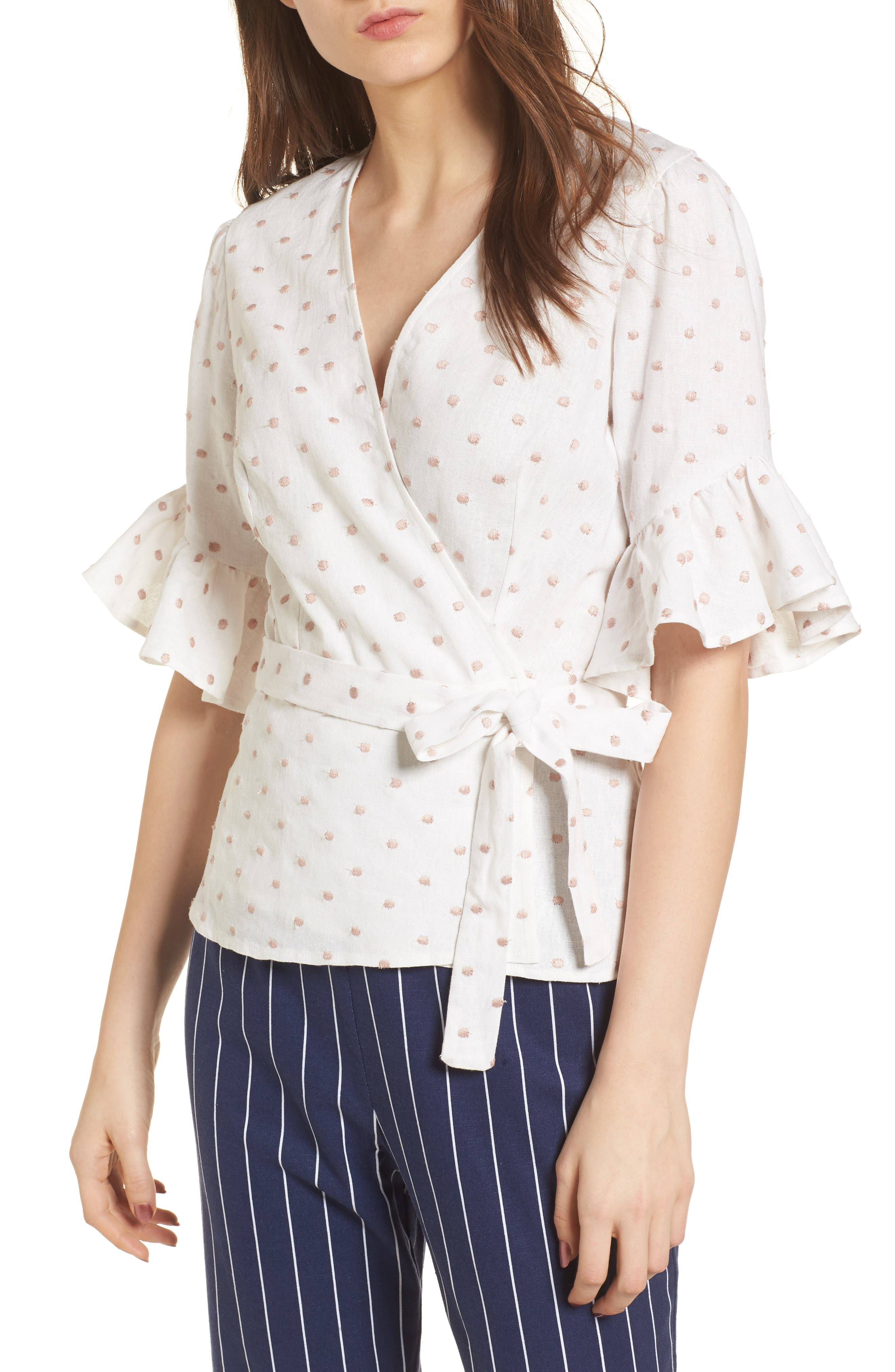 Kaitlyn Wrap Top,                             Main thumbnail 1, color,                             Ivory W/ Pink Dot