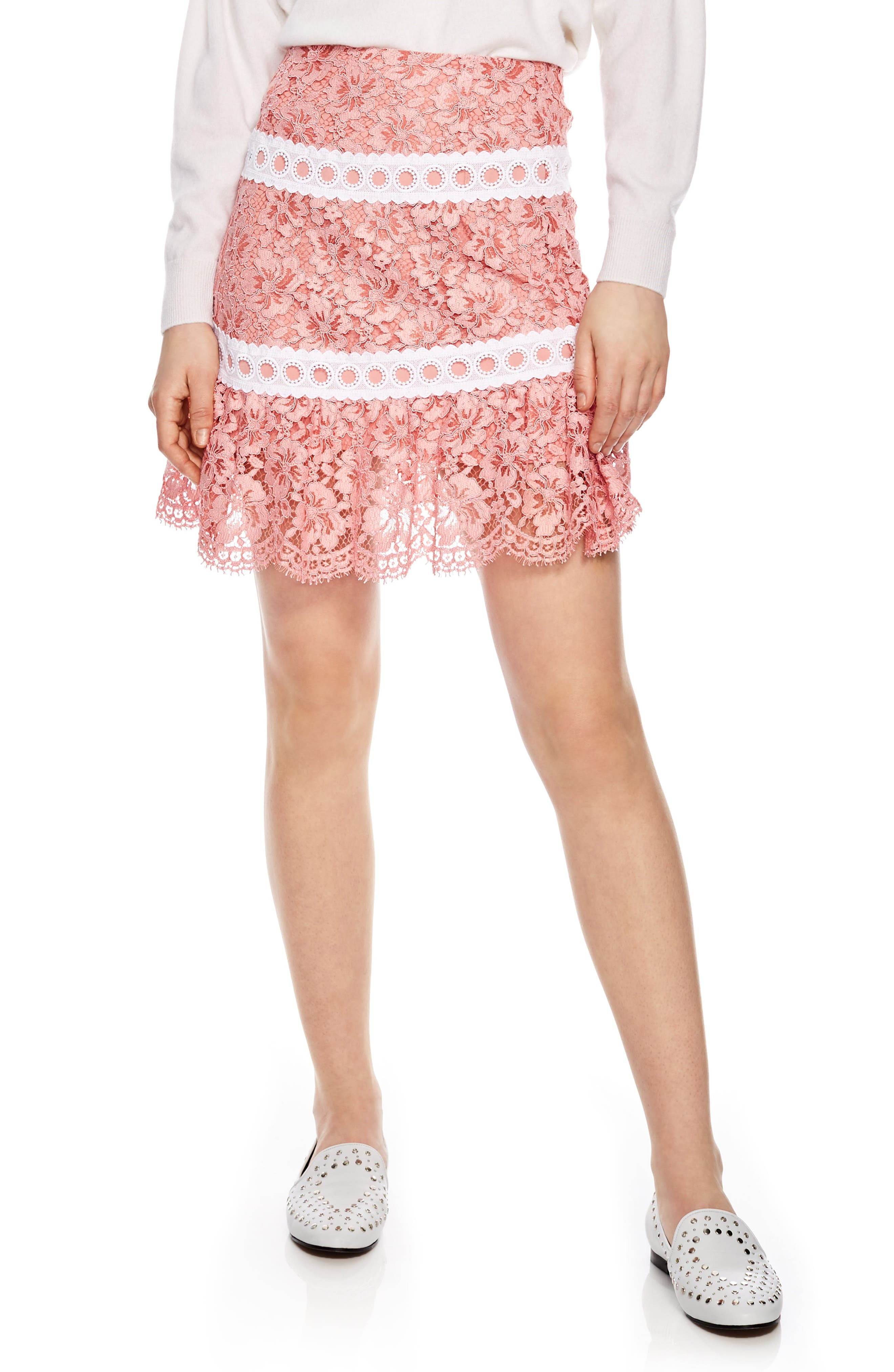 Rose Lace & Eyelet Skirt,                         Main,                         color, Pink
