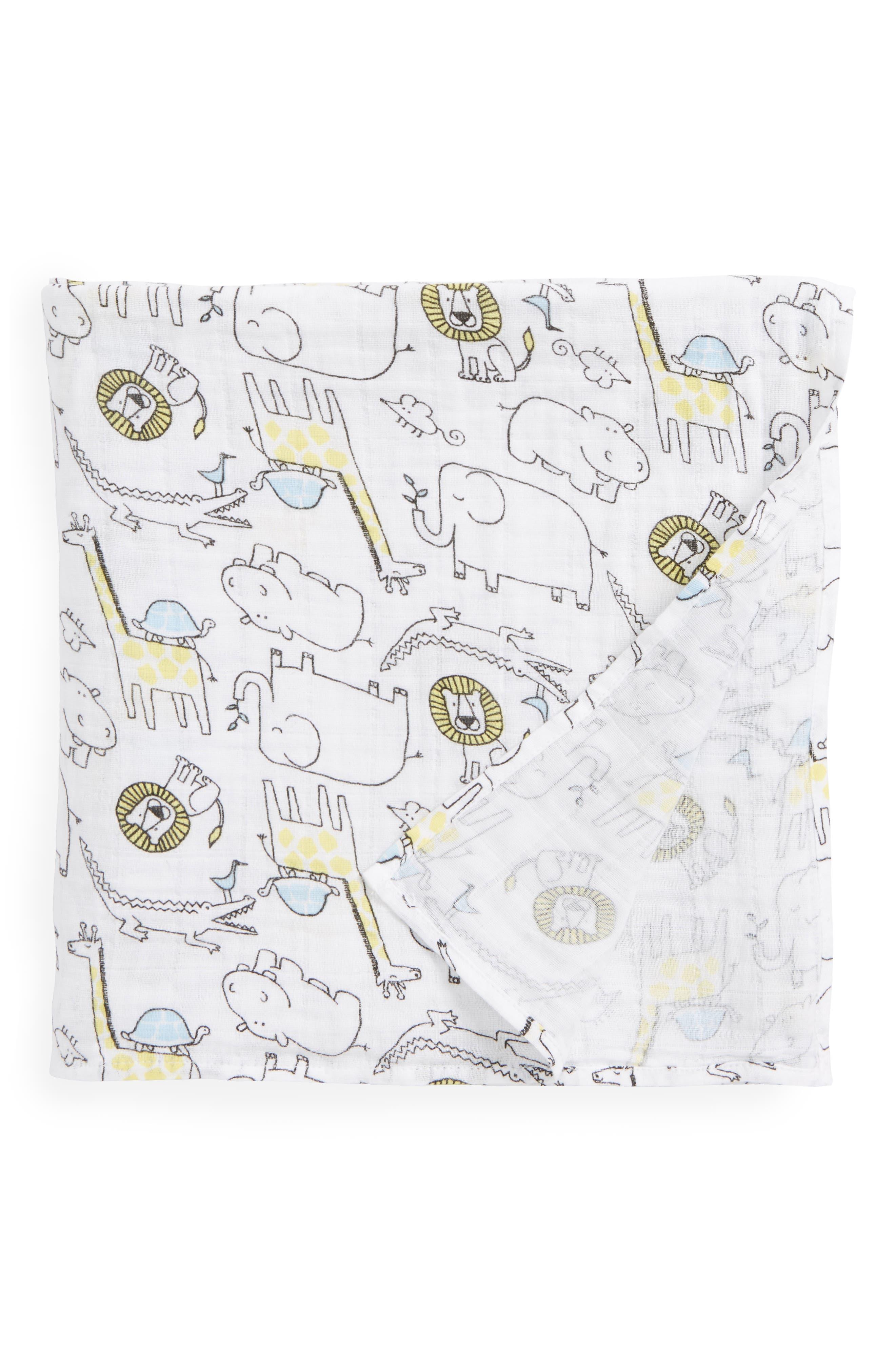 Cotton Swaddle Blanket,                         Main,                         color, White Multi Zoo