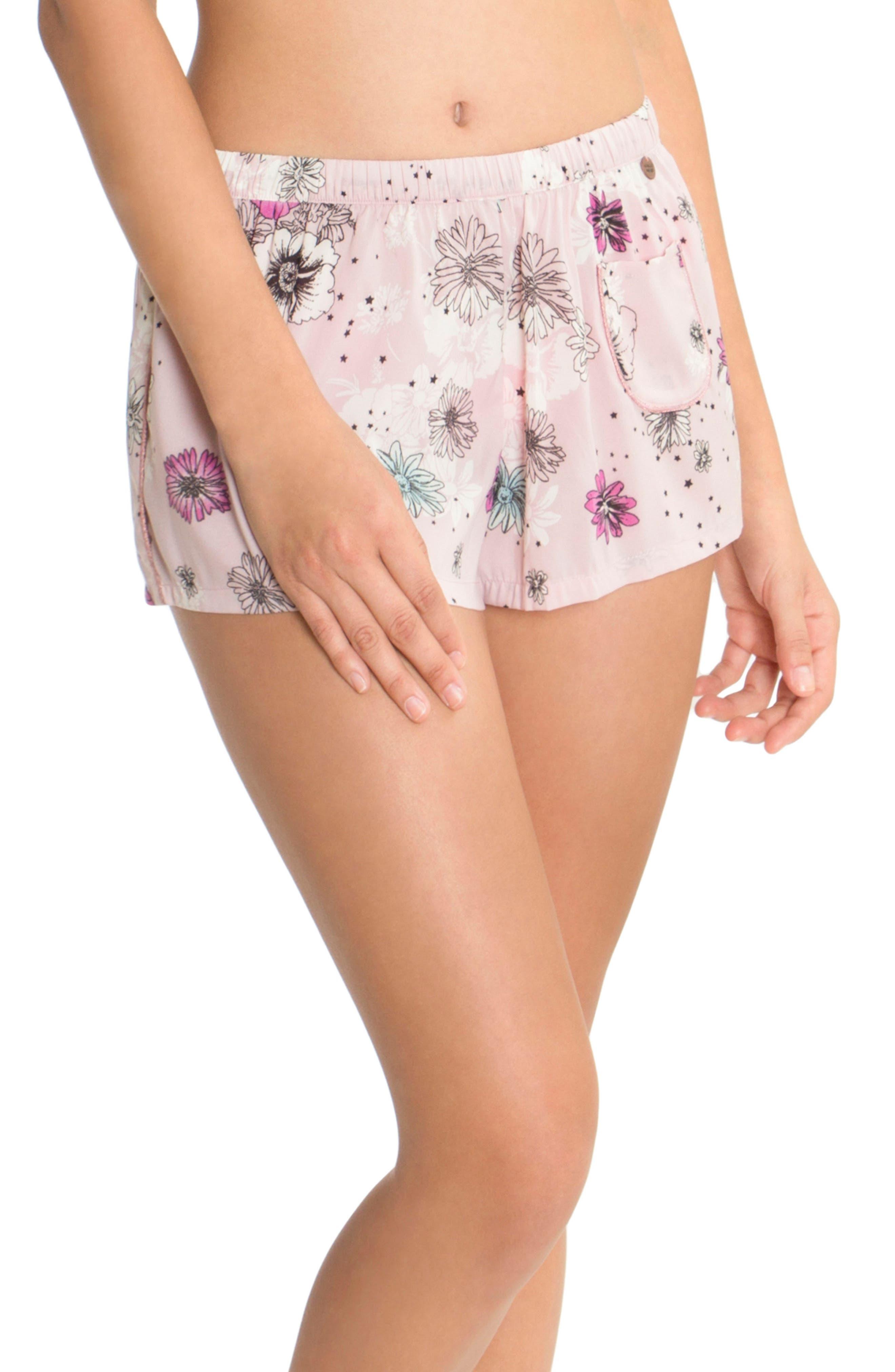 Print Pajama Shorts,                         Main,                         color, Lilac