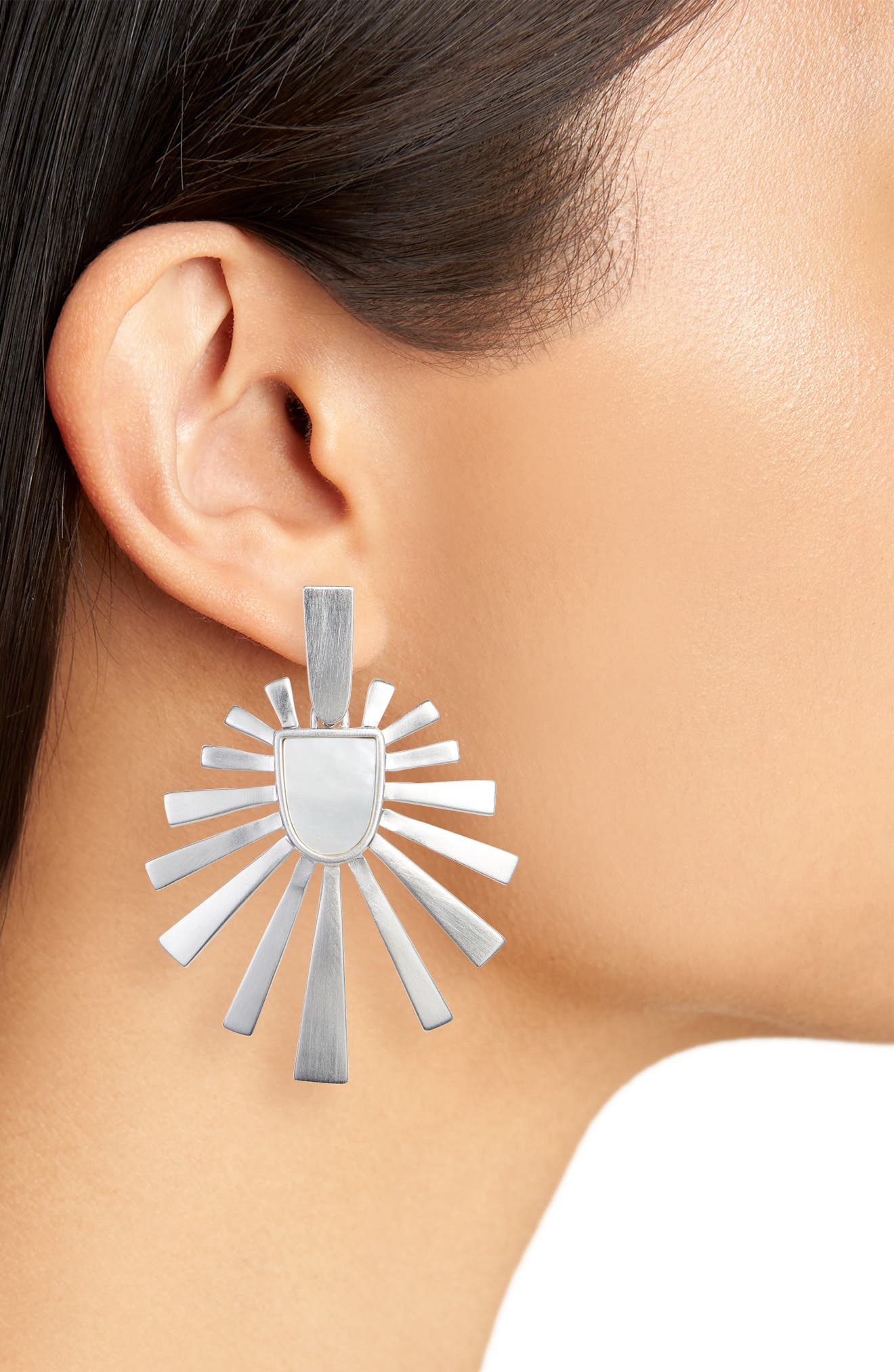 Cambria Earrings,                             Alternate thumbnail 2, color,                             Ivory Mother Of Pearl/ Silver