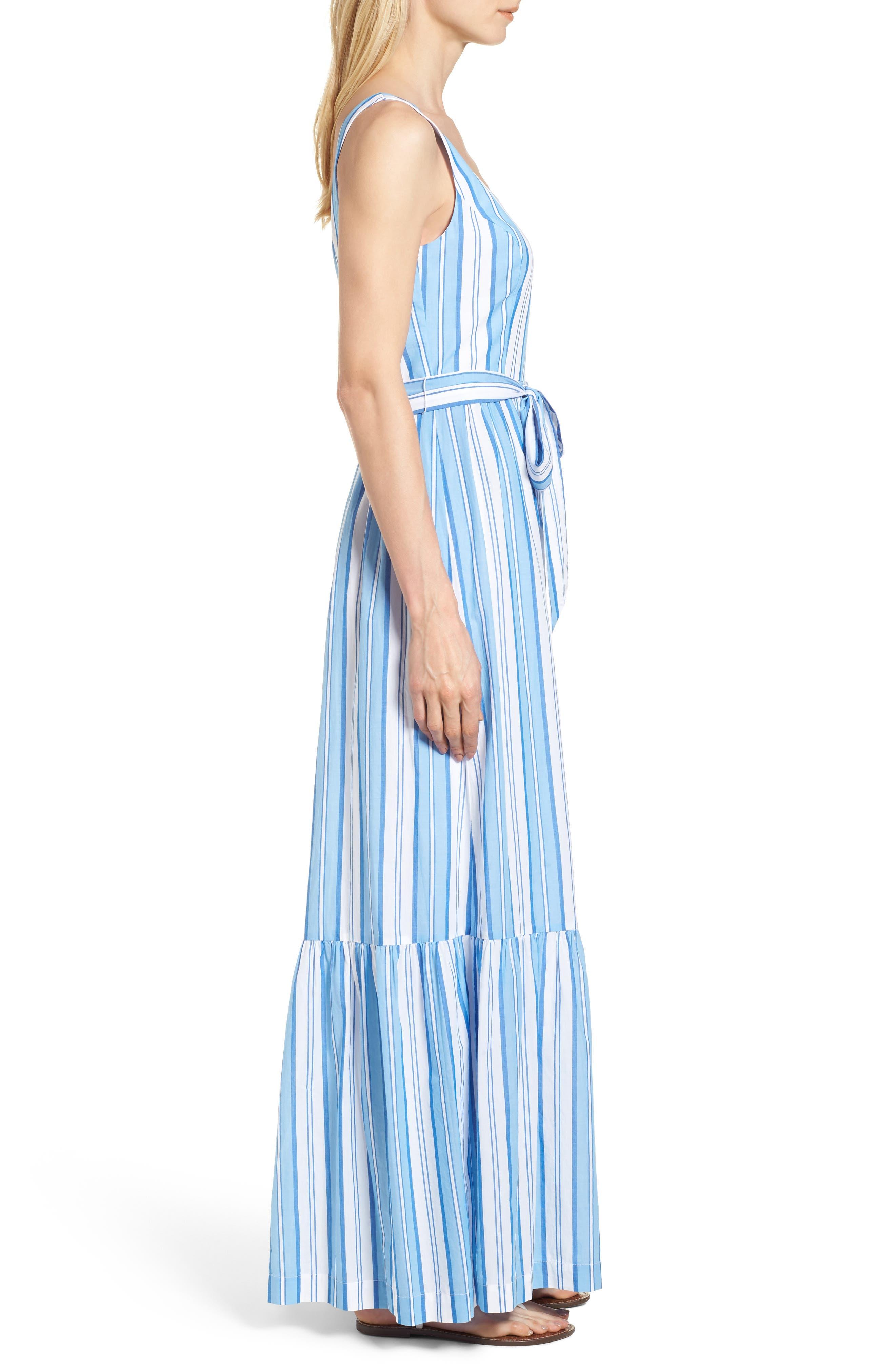 Ocean Stripe Tiered Maxi Dress,                             Alternate thumbnail 3, color,                             Blue Jay