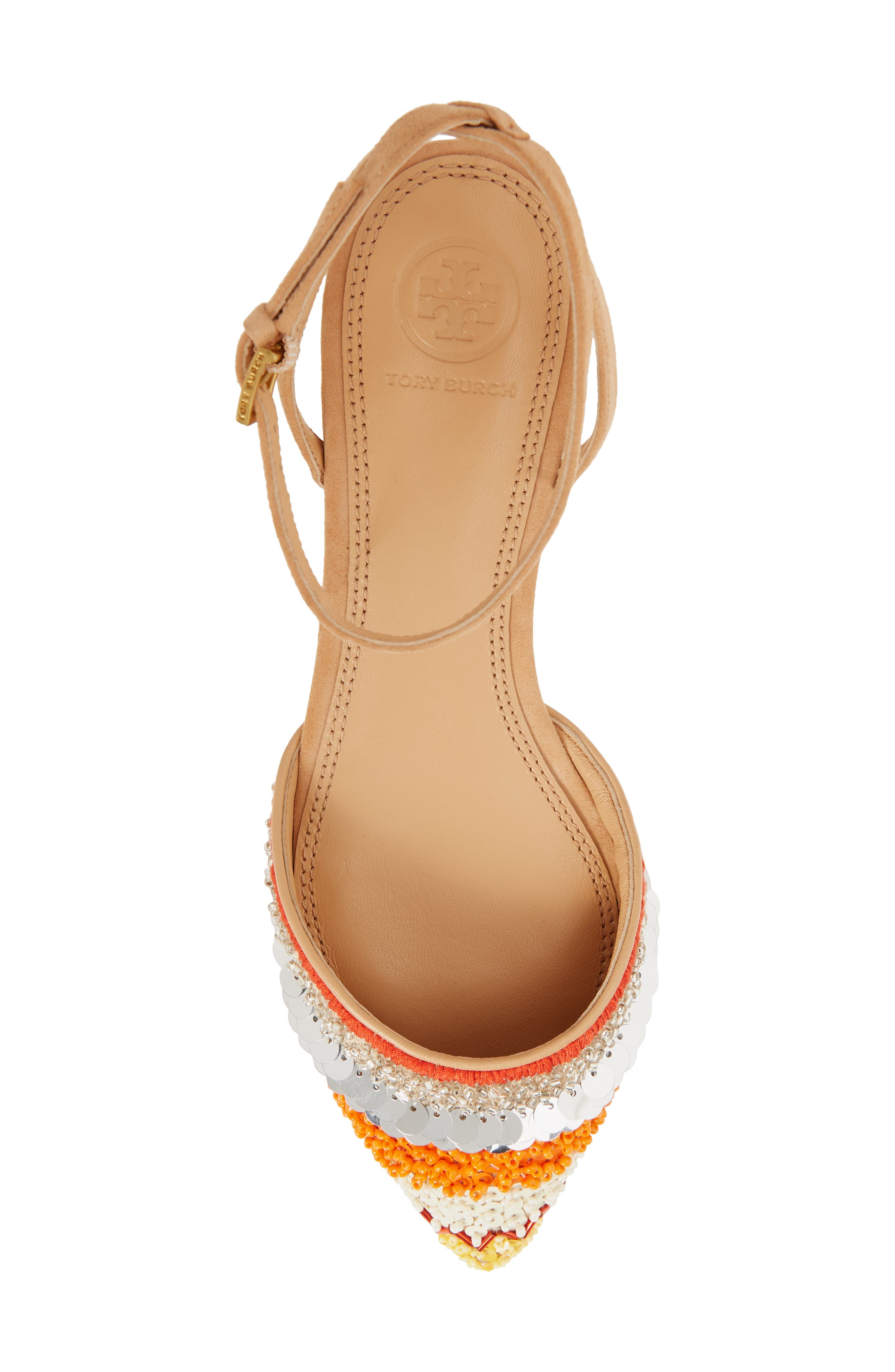 Isle Embellished Ankle Strap Flat,                             Alternate thumbnail 5, color,                             Multi Color/ Natural