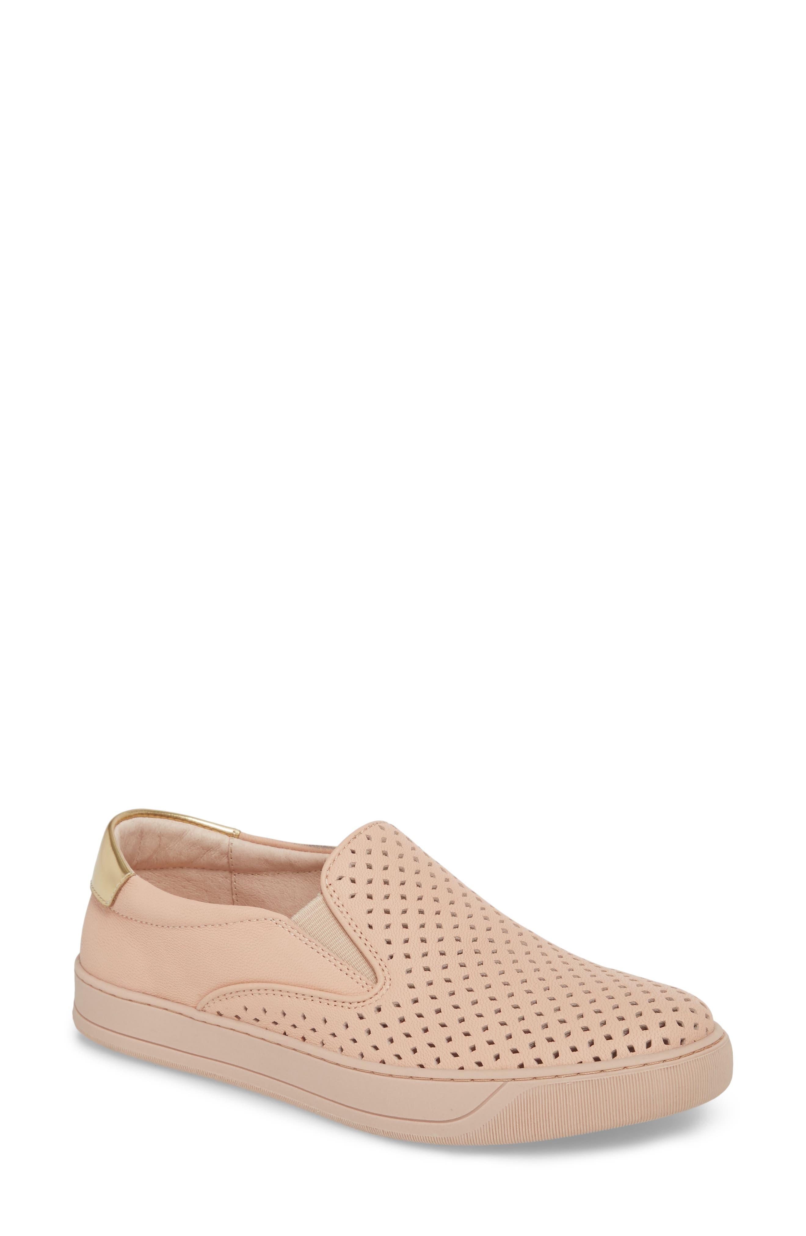Elaine Slip-On Sneaker,                             Main thumbnail 1, color,                             Pink Leather
