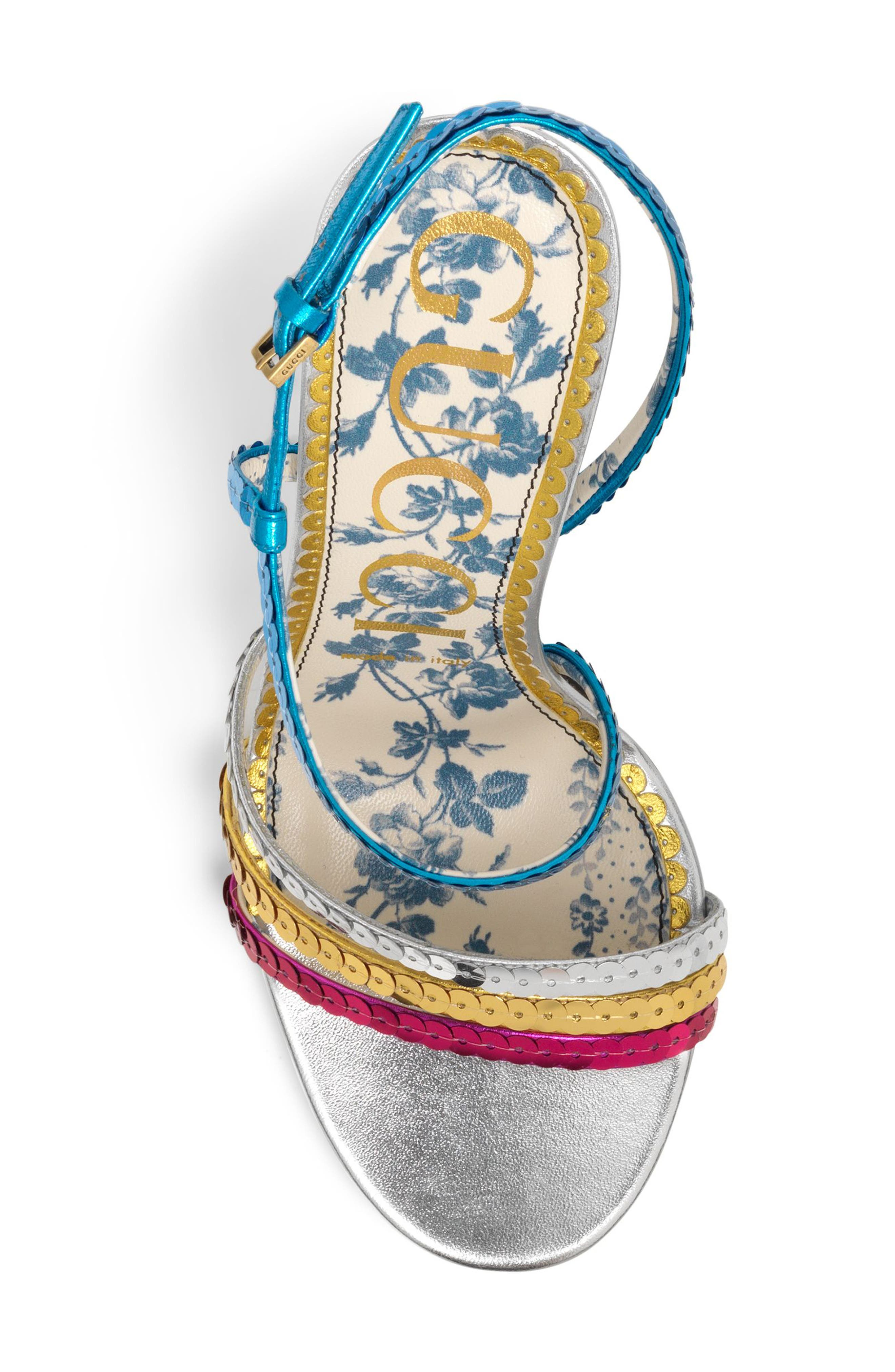 Sequin Sandal,                             Alternate thumbnail 4, color,                             Silver/ Blue/ Pink