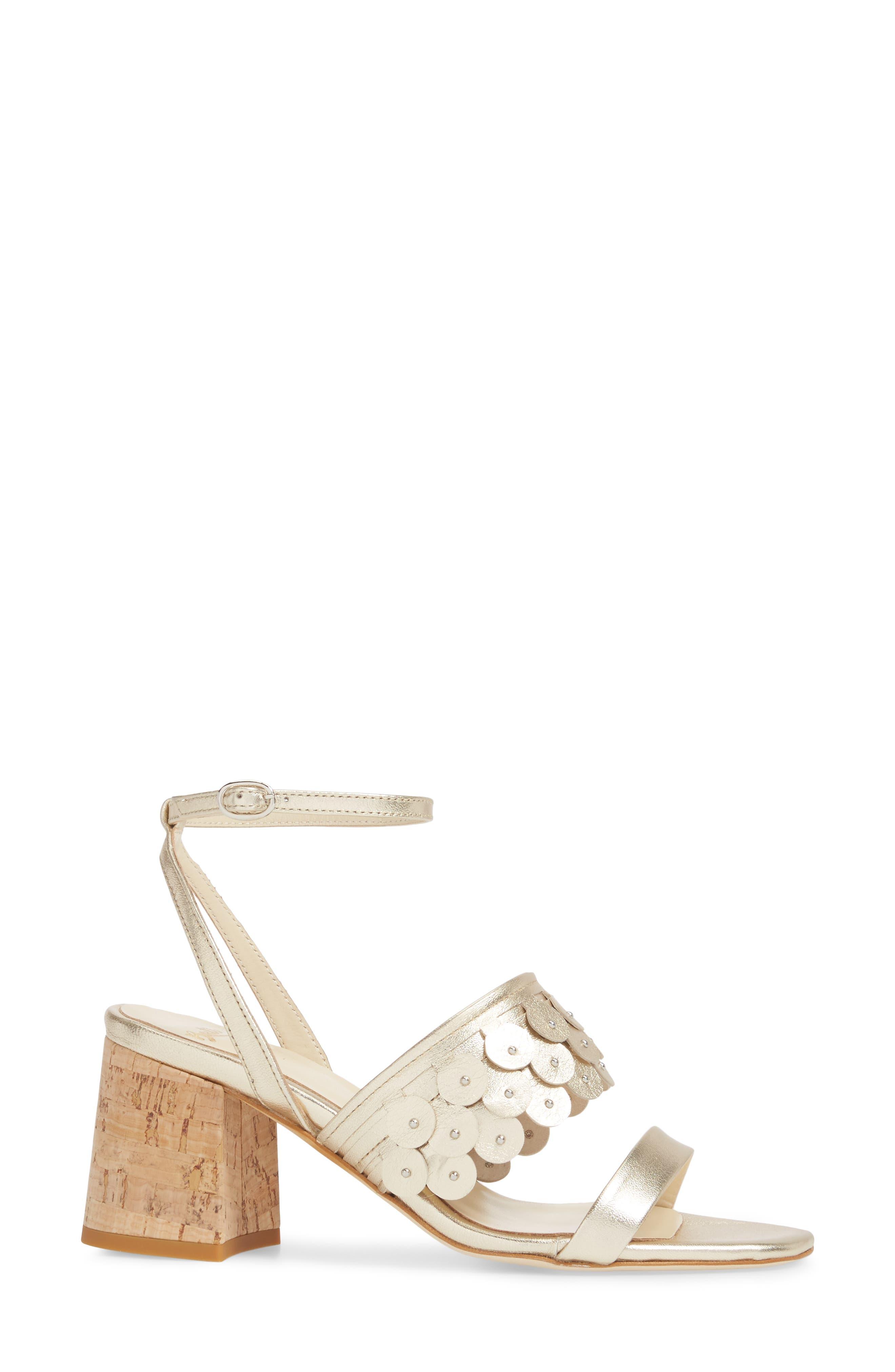 Butter Finley Studded Ankle Strap Sandal,                             Alternate thumbnail 3, color,                             Platino Napa
