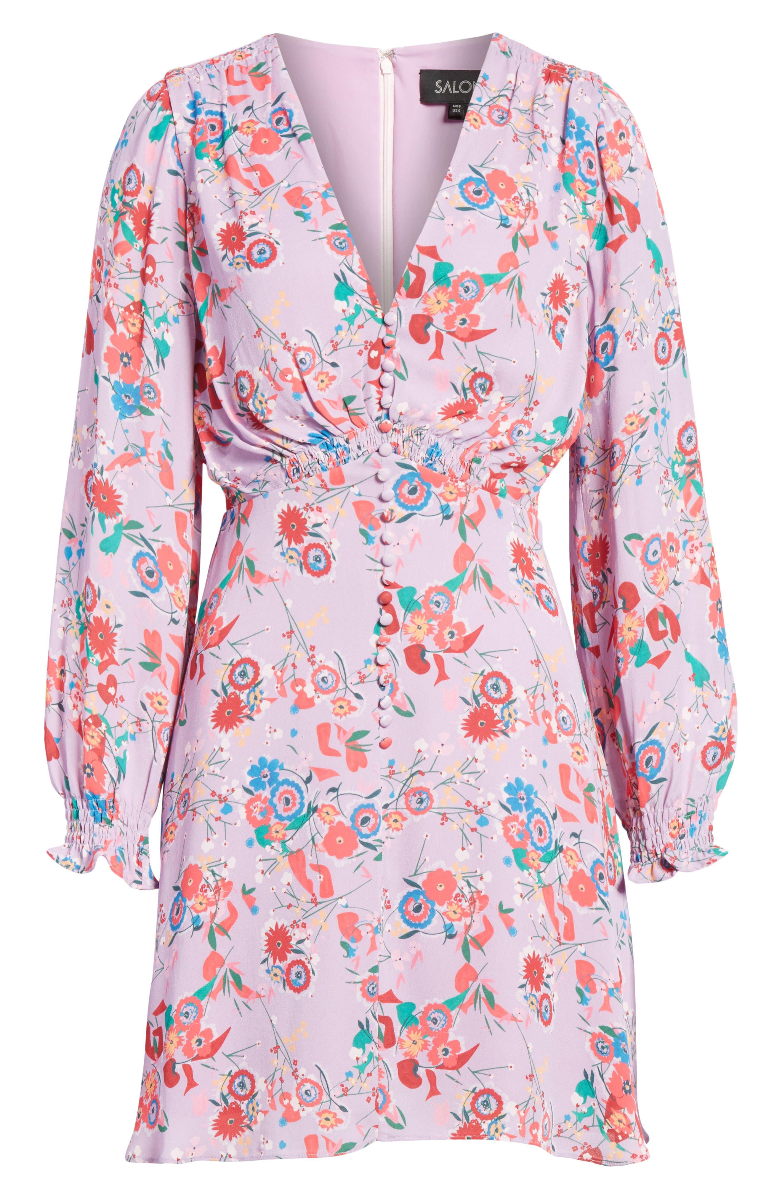 Eve Floral Print Dress,                             Alternate thumbnail 6, color,                             Lilac Pimpernel