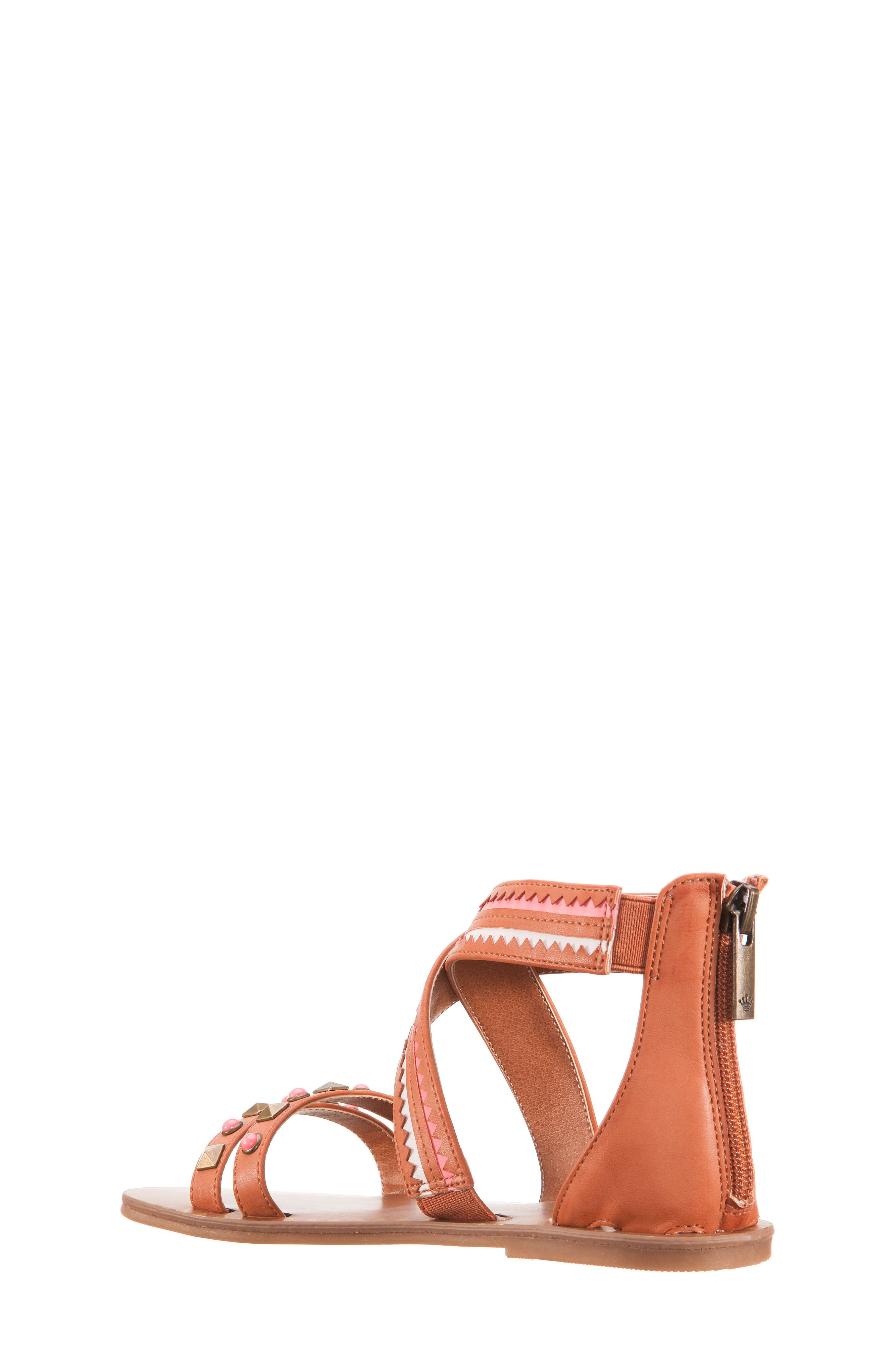 Phelisha Embellished Gladiator Sandal,                             Alternate thumbnail 2, color,                             Tan Burnished