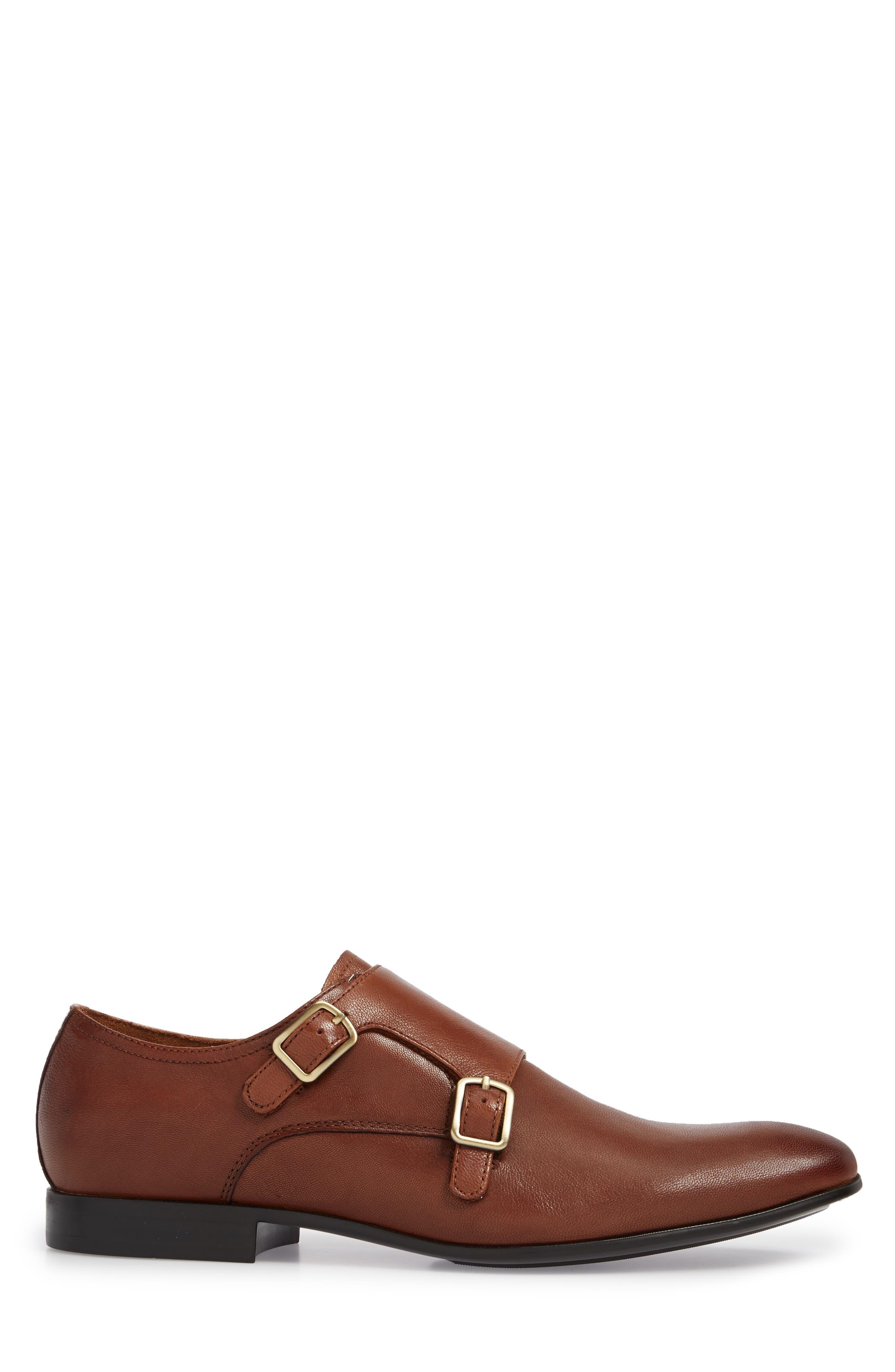 Mix Double Monk Strap Shoe,                             Alternate thumbnail 3, color,                             Cognac Leather