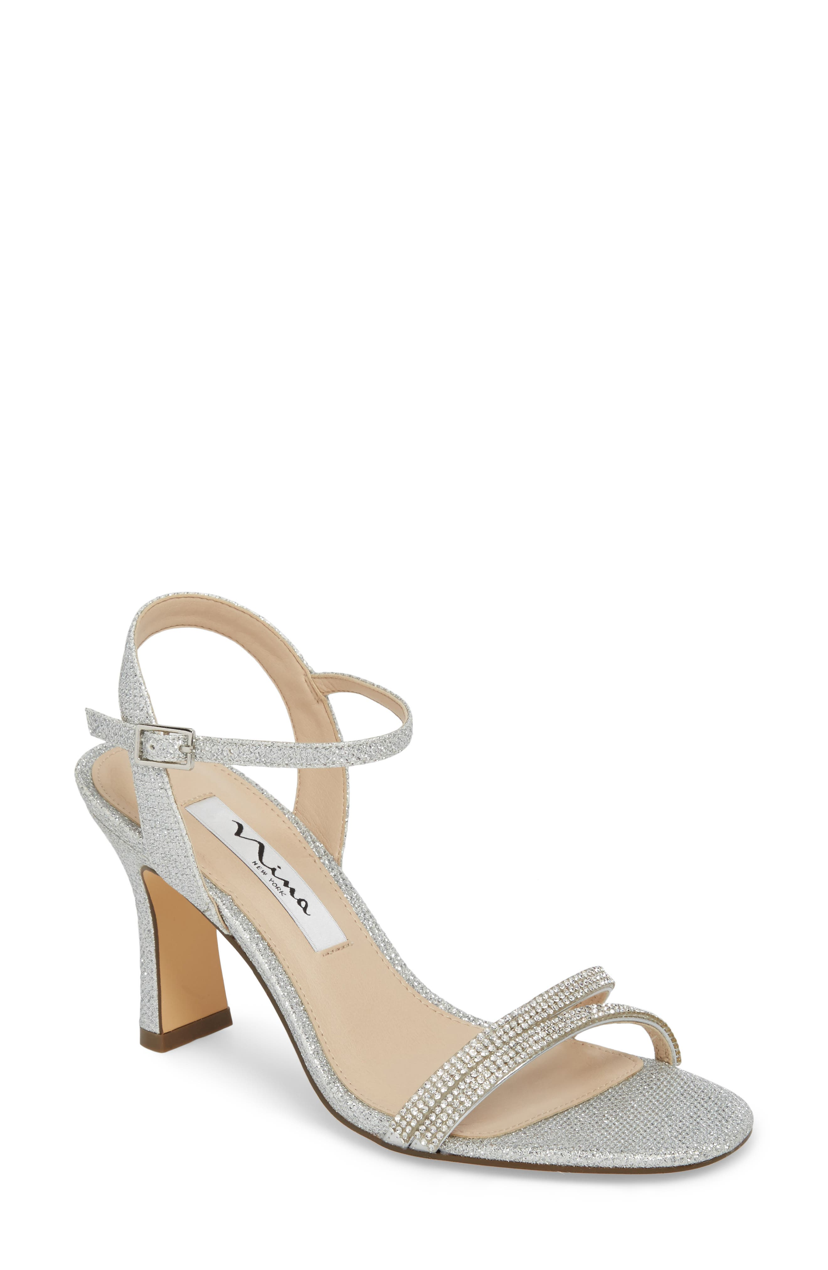 Avalon Ankle Strap Sandal,                         Main,                         color, Silver Fabric