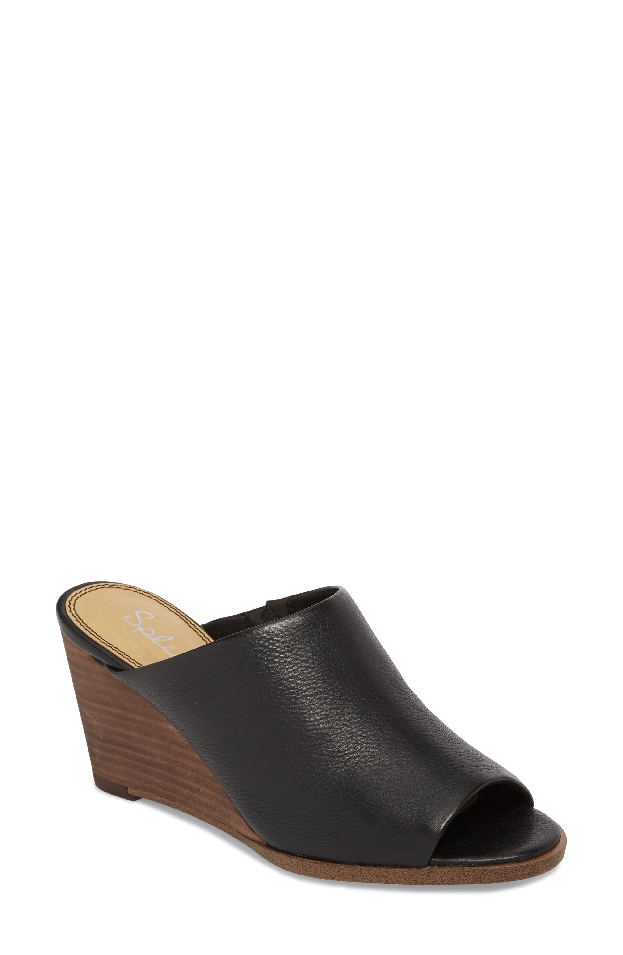 SPLENDID Fenwick Leather Wedge Sandals in Black