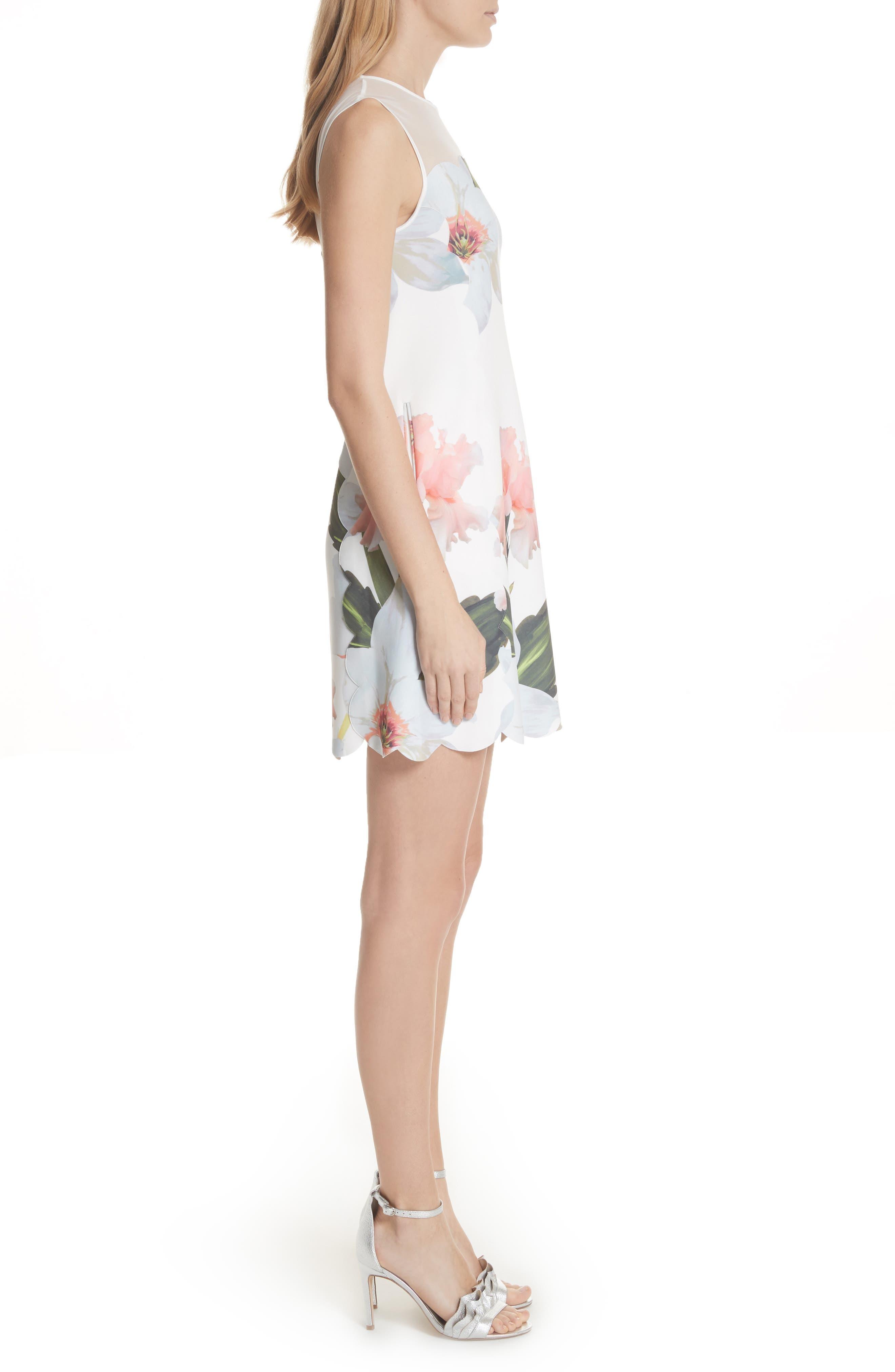 Chatsworth Bloom Tunic Dress,                             Alternate thumbnail 3, color,                             White