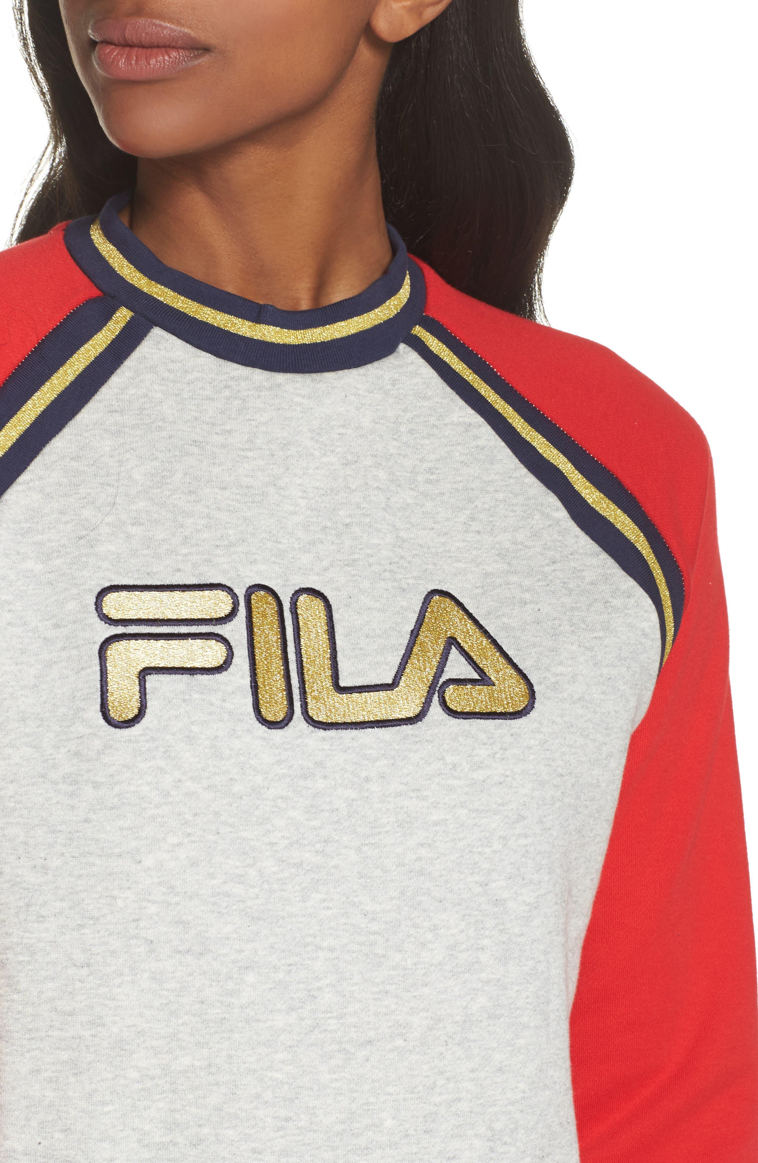 Rafaella Sweatshirt,                             Alternate thumbnail 4, color,                             Light Grey / Peacoat/ Red