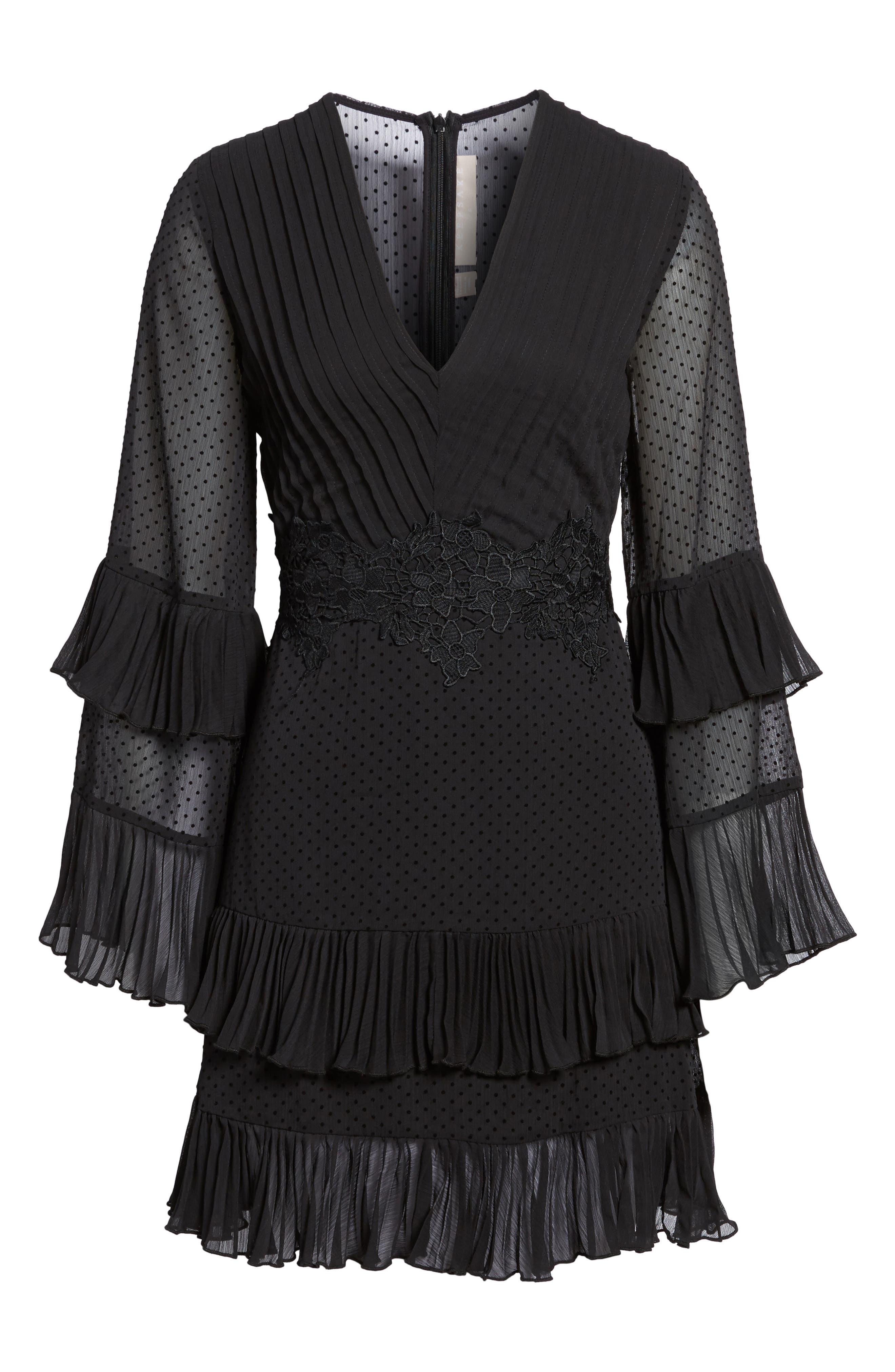 Horizons Bell Sleeve Minidress,                             Alternate thumbnail 7, color,                             Black