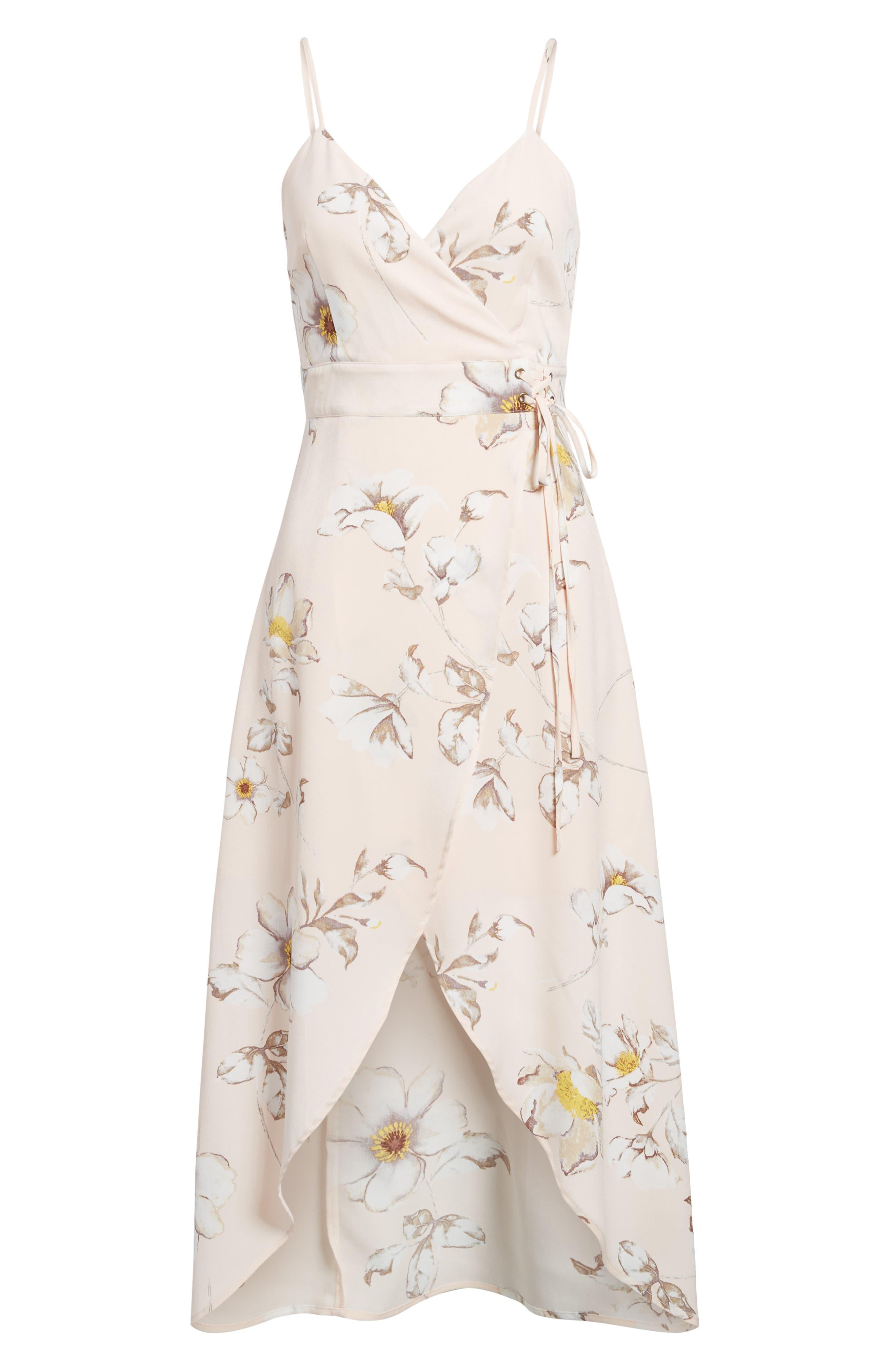 Faux Wrap Midi Dress,                             Alternate thumbnail 7, color,                             Blush Floral