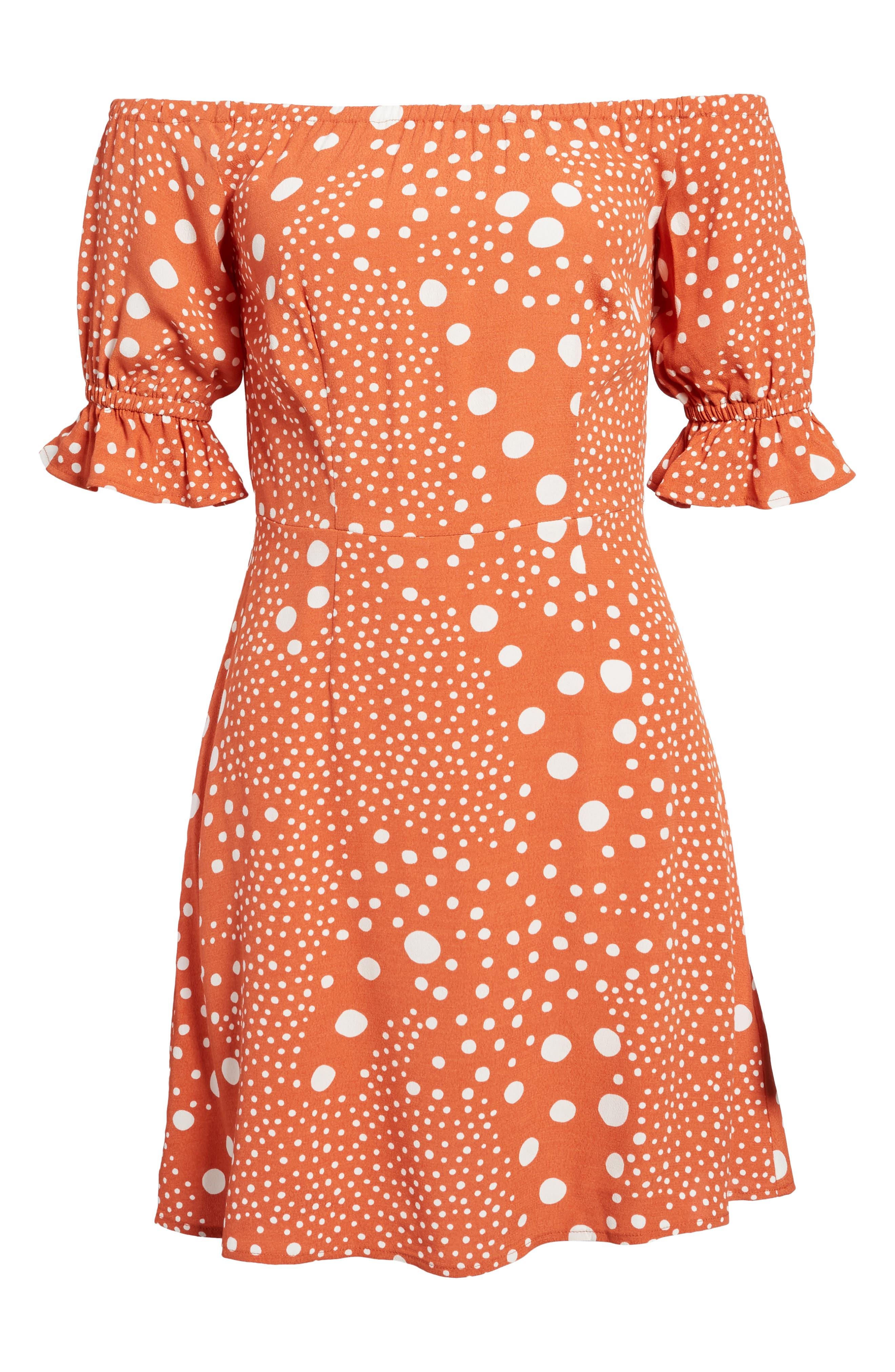 Peppers Polka Dot Off the Shoulder Dress,                             Alternate thumbnail 7, color,                             Rust Pebble