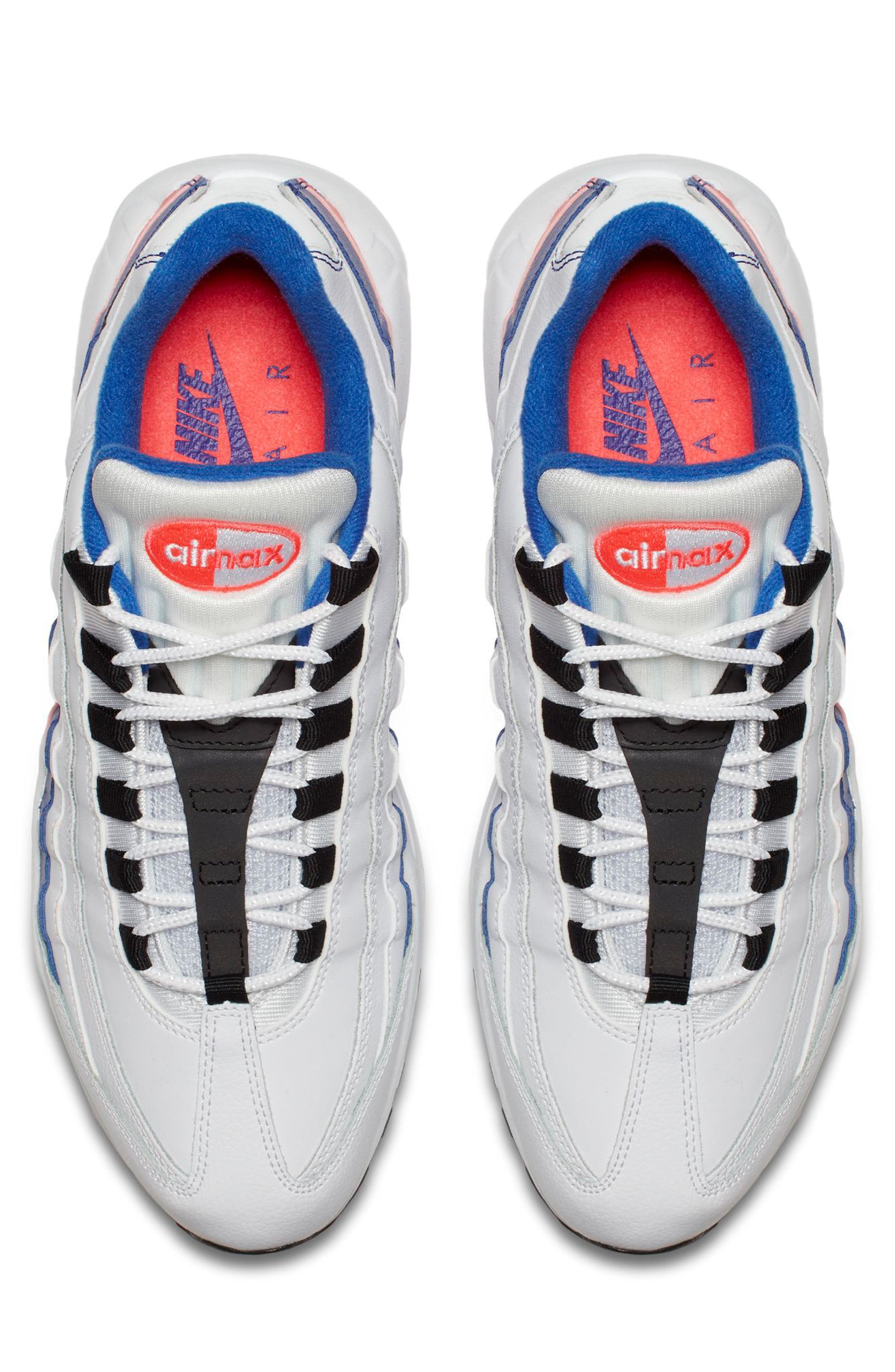 Air Max 95 Essential Sneaker,                             Alternate thumbnail 4, color,                             White/ Black/ Solar Red