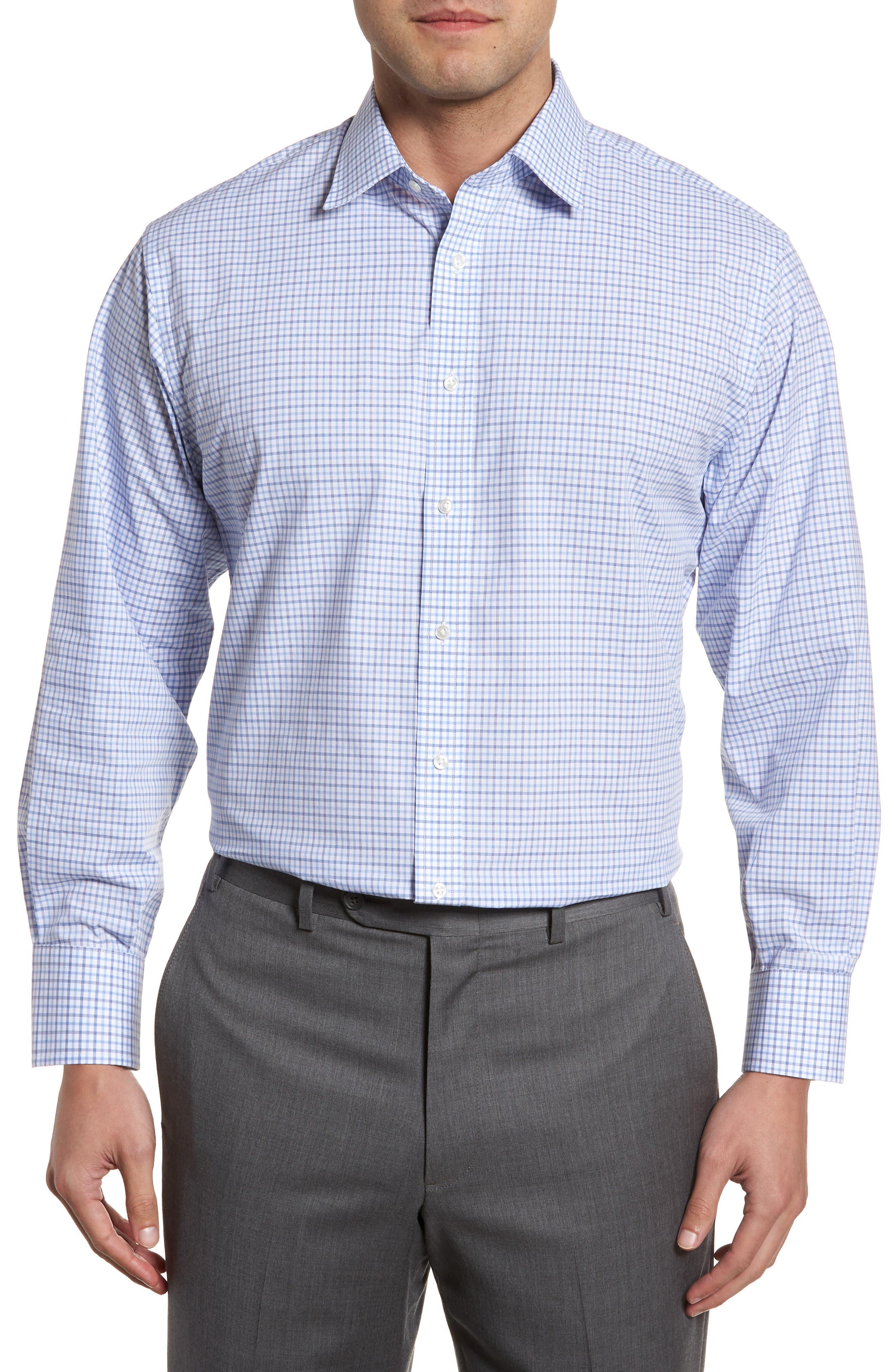 Classic Fit Check Dress Shirt,                             Main thumbnail 1, color,                             Blue Marine