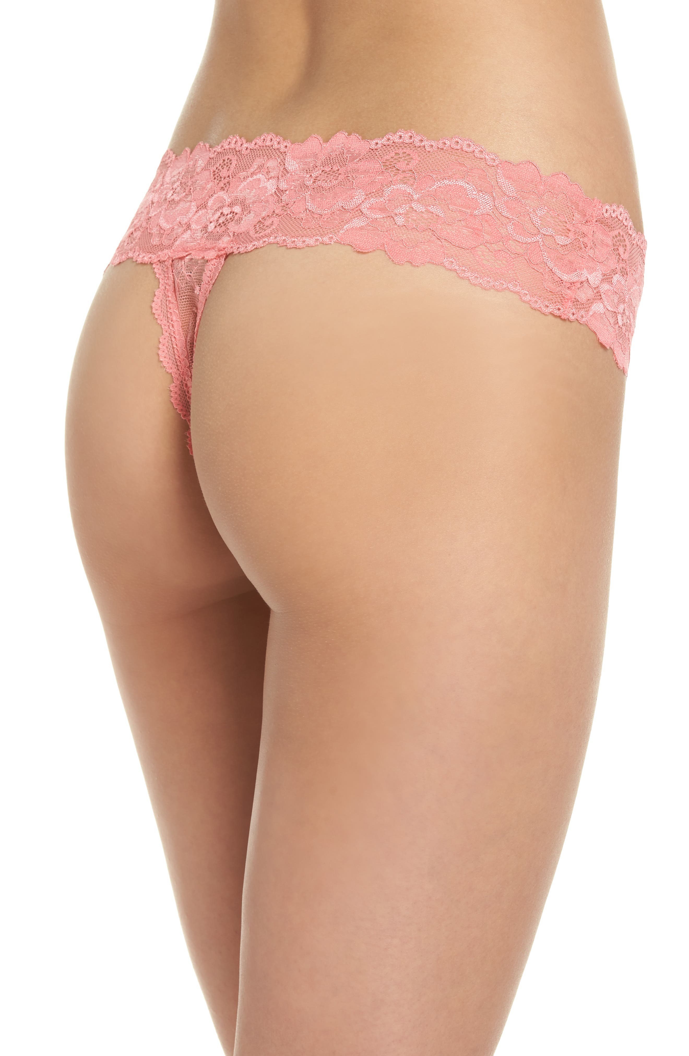 Alternate Image 2  - Honeydew Lace Thong (3 for $33)