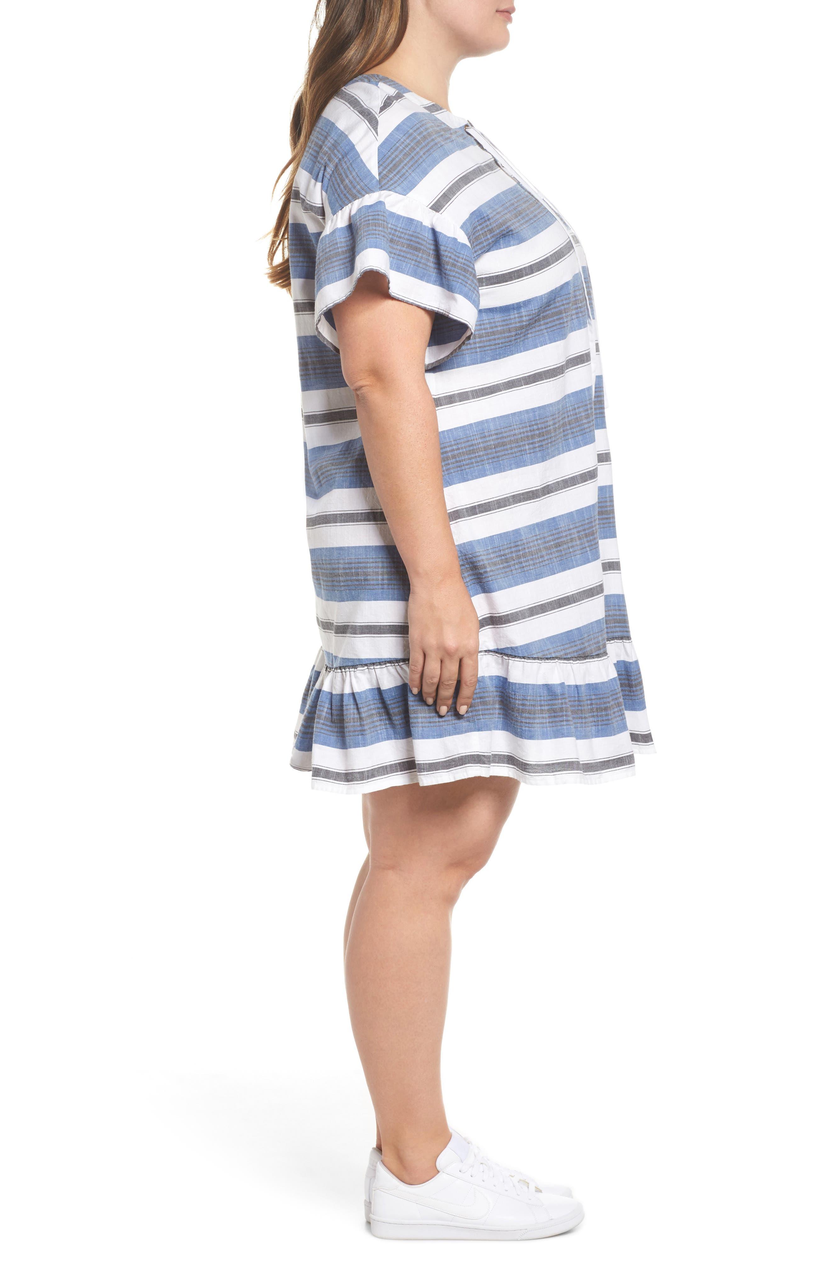 Lace-Up Stripe Dress,                             Alternate thumbnail 3, color,                             Blue Multi