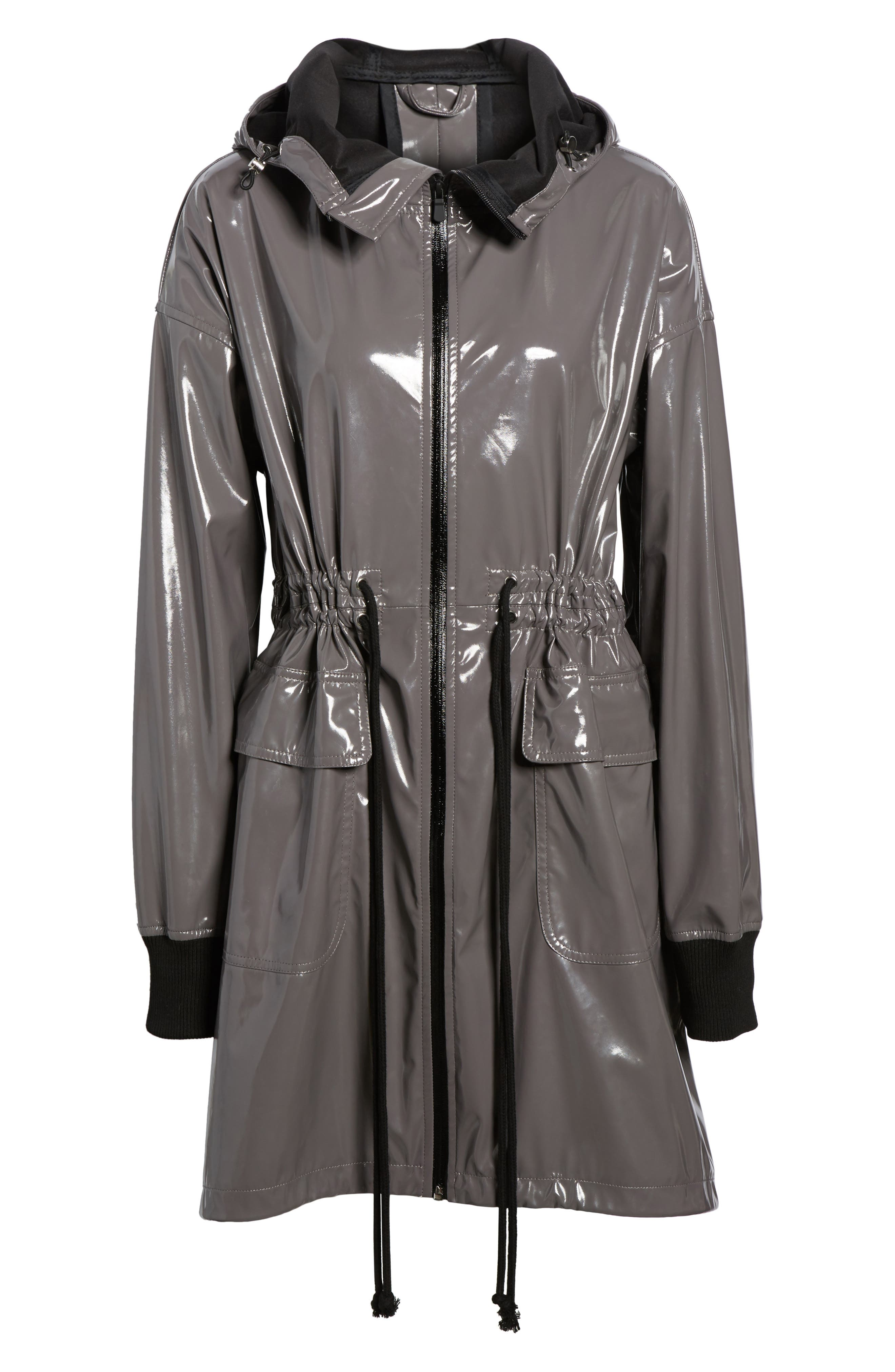 Fawn Patent Hooded Raincoat,                             Alternate thumbnail 7, color,                             Steel