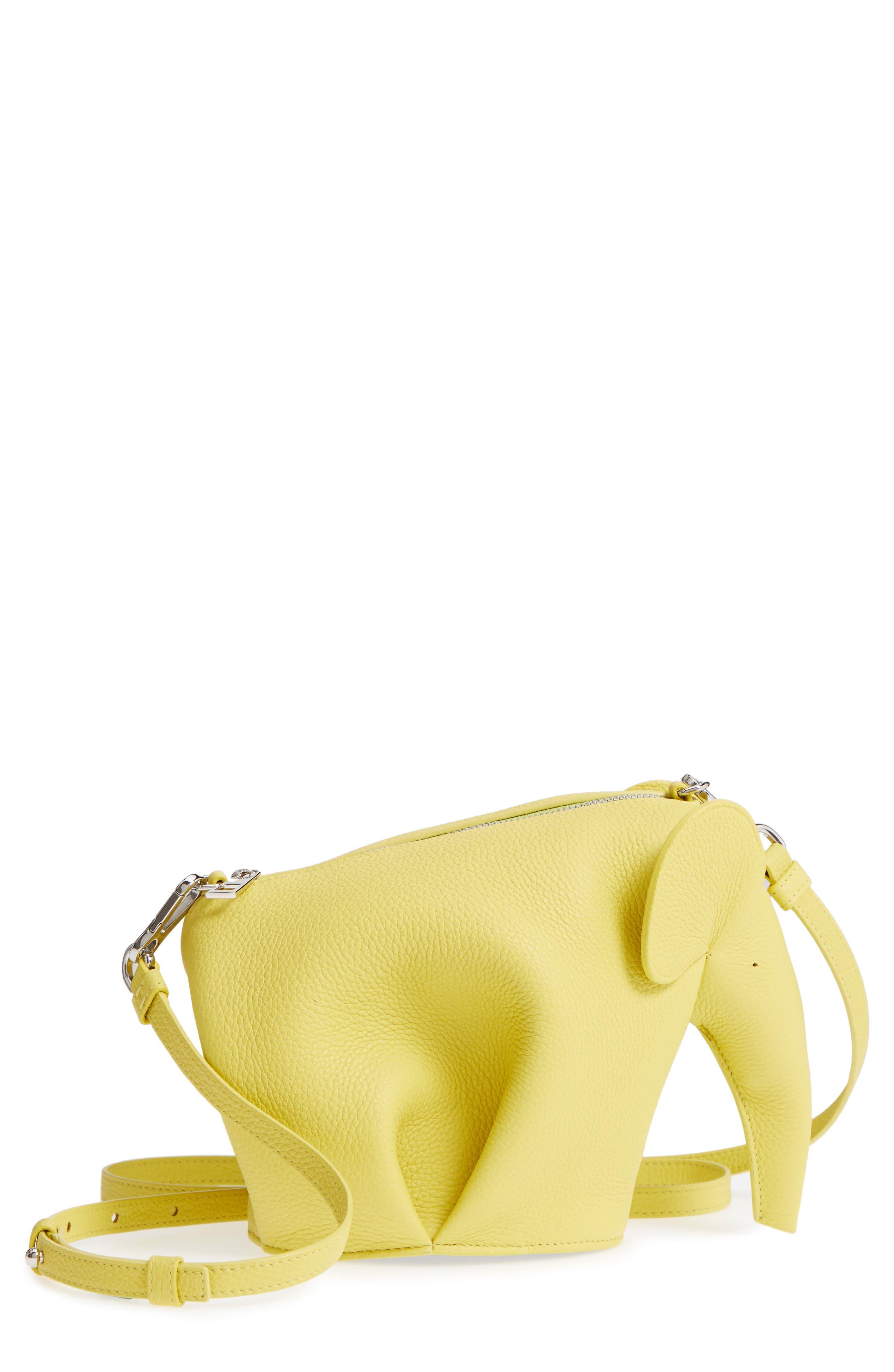 Mini Elephant Calfskin Crossbody Bag,                             Main thumbnail 1, color,                             Yellow Lemon