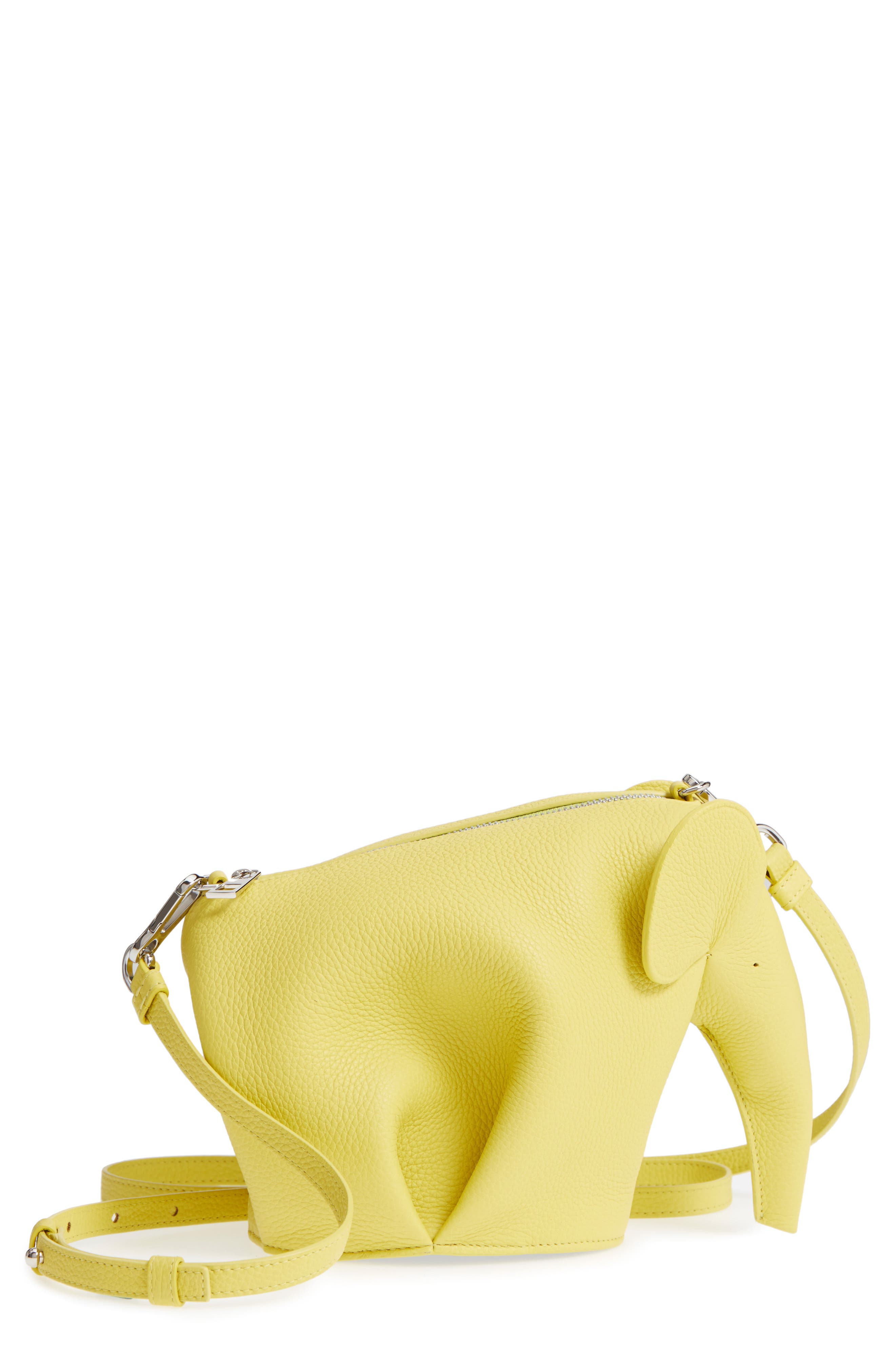 Mini Elephant Calfskin Crossbody Bag,                         Main,                         color, Yellow Lemon