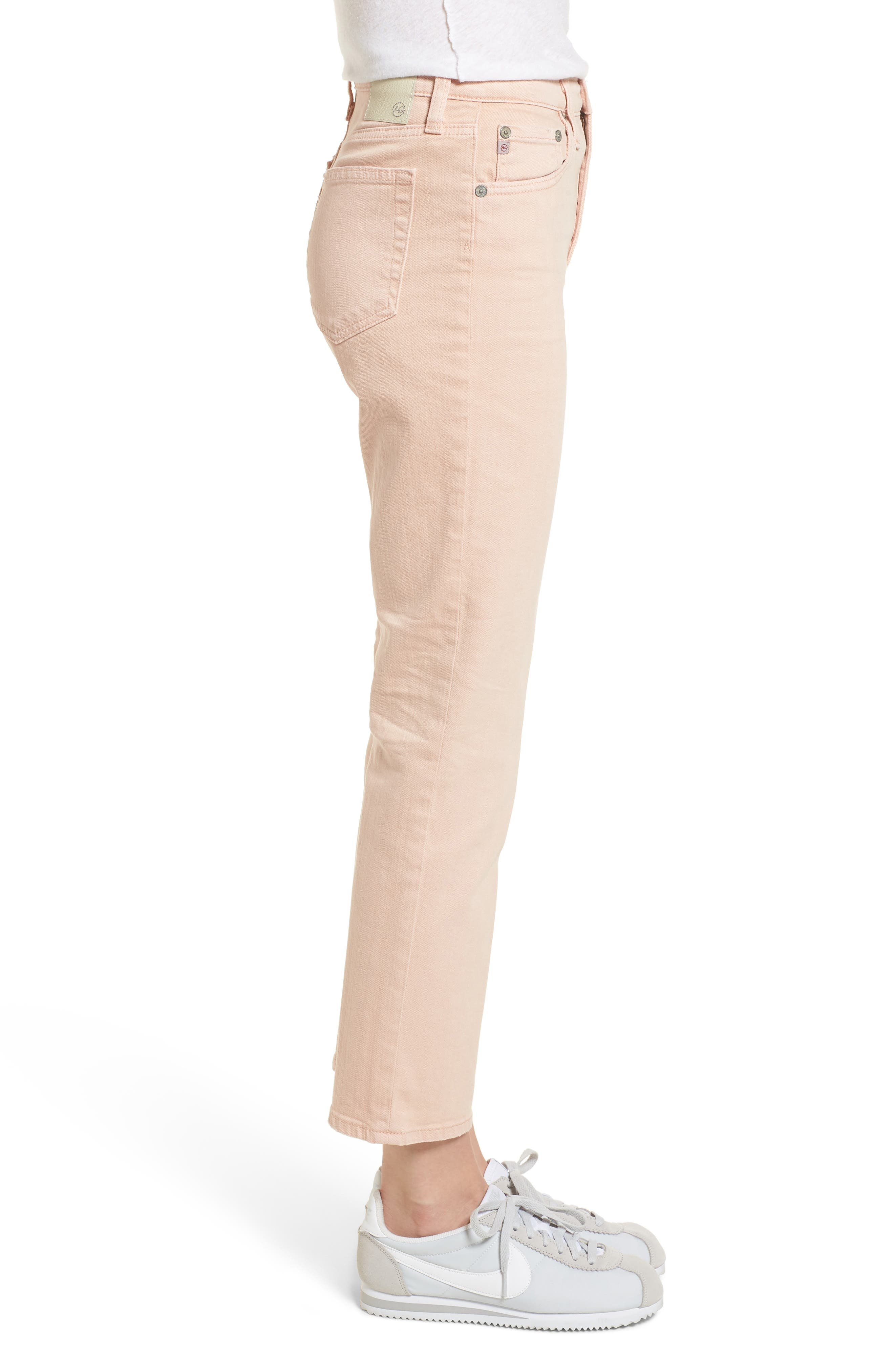 The Isabelle High Waist Crop Straight Leg Jeans,                             Alternate thumbnail 3, color,                             1 Year Sulfur Rosy Rogue