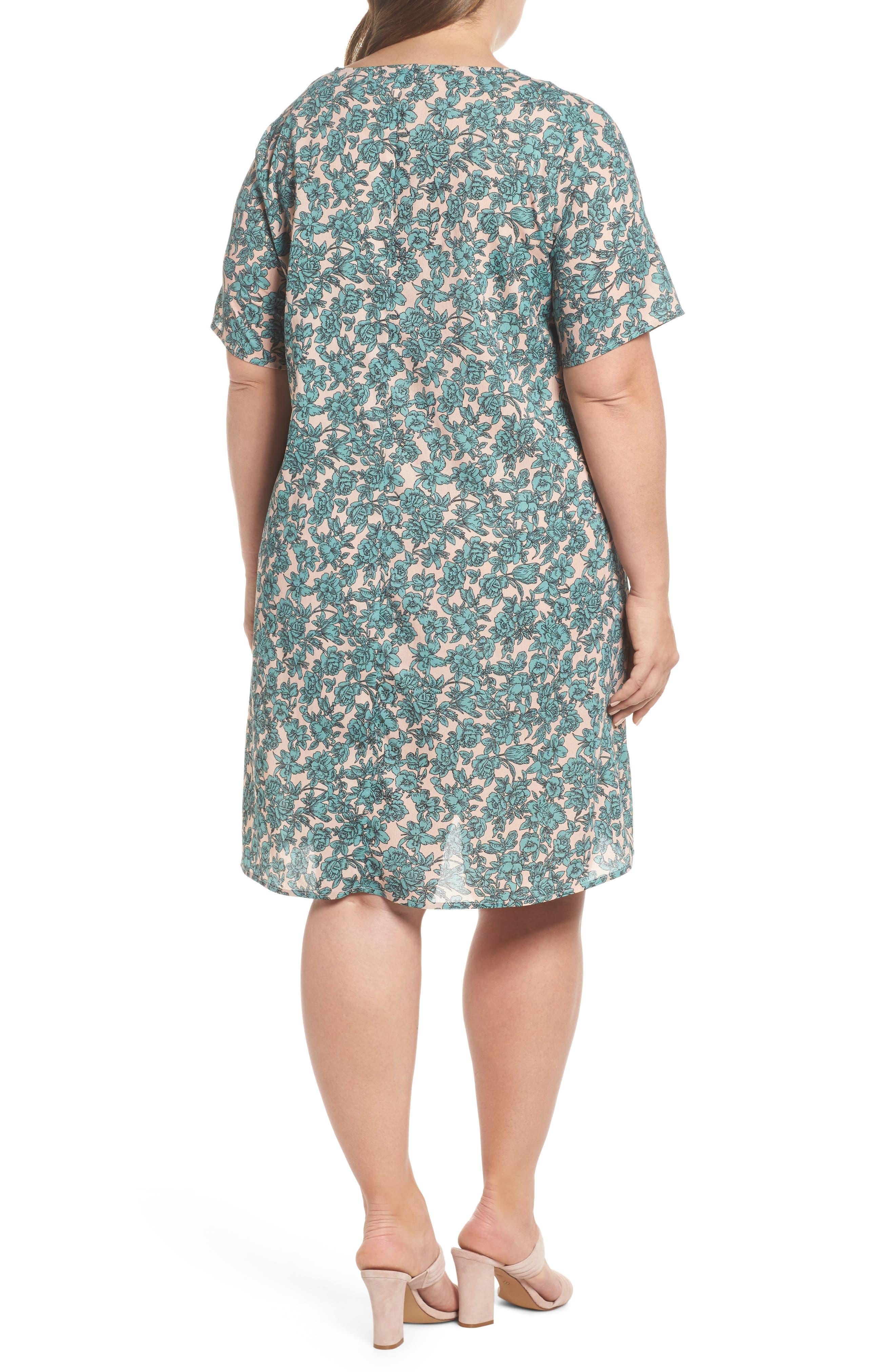 Floral Shift Dress,                             Alternate thumbnail 2, color,                             Sage Green Floral