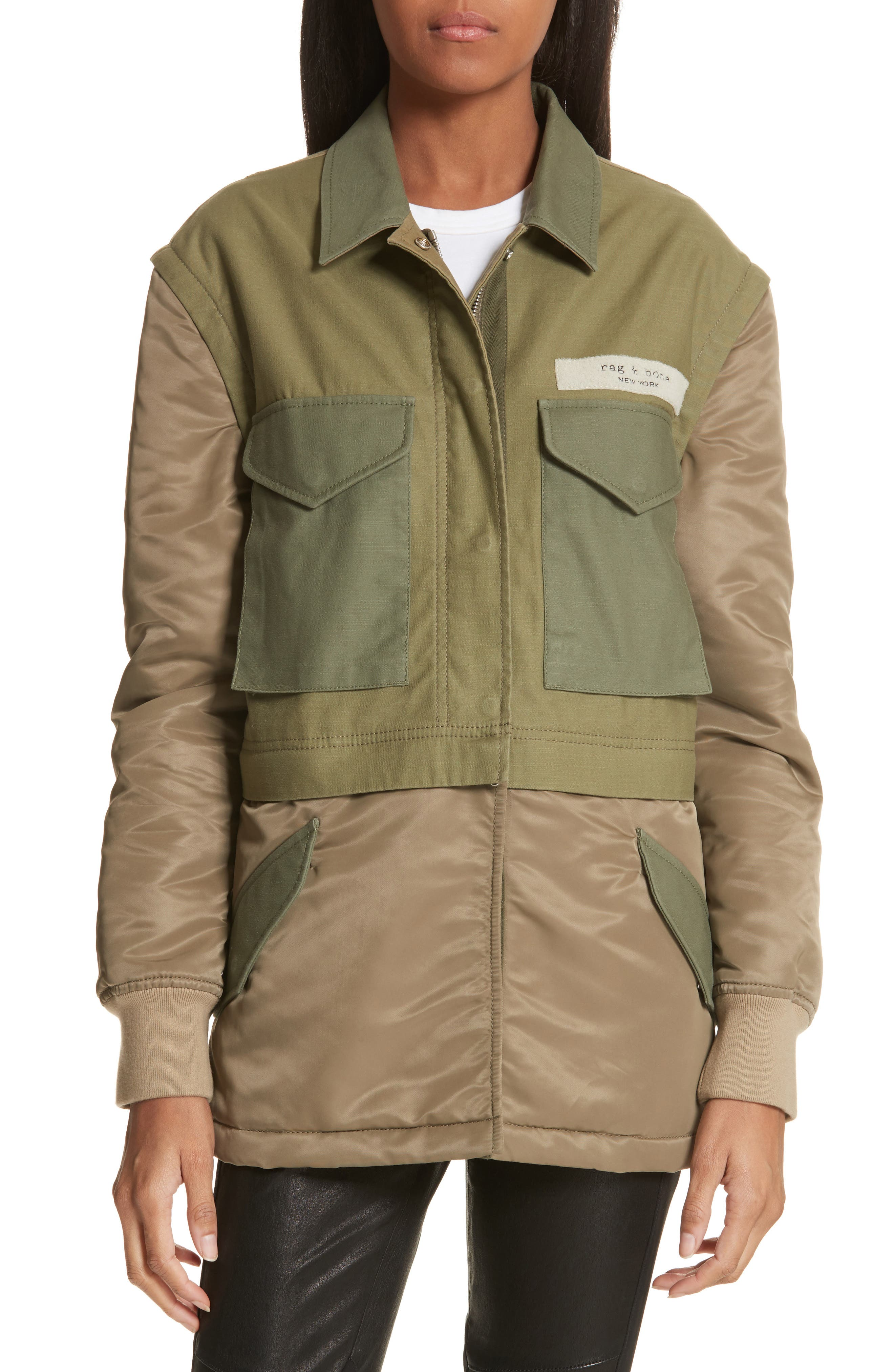 Modular Field Convertible Cotton Jacket,                         Main,                         color, Dark Olive