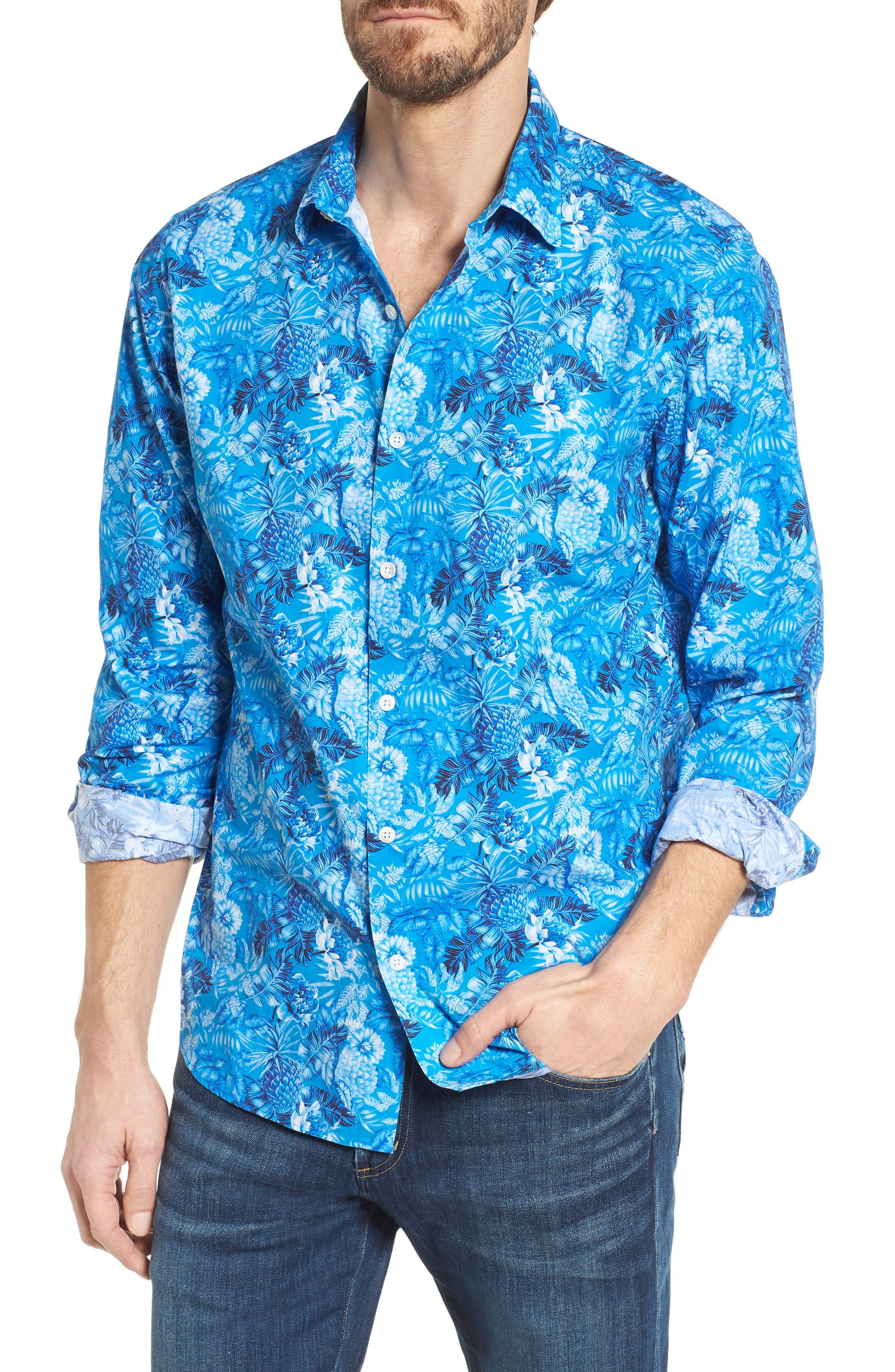 Premium Slim Fit Print Sport Shirt,                             Main thumbnail 1, color,                             Blue Floral