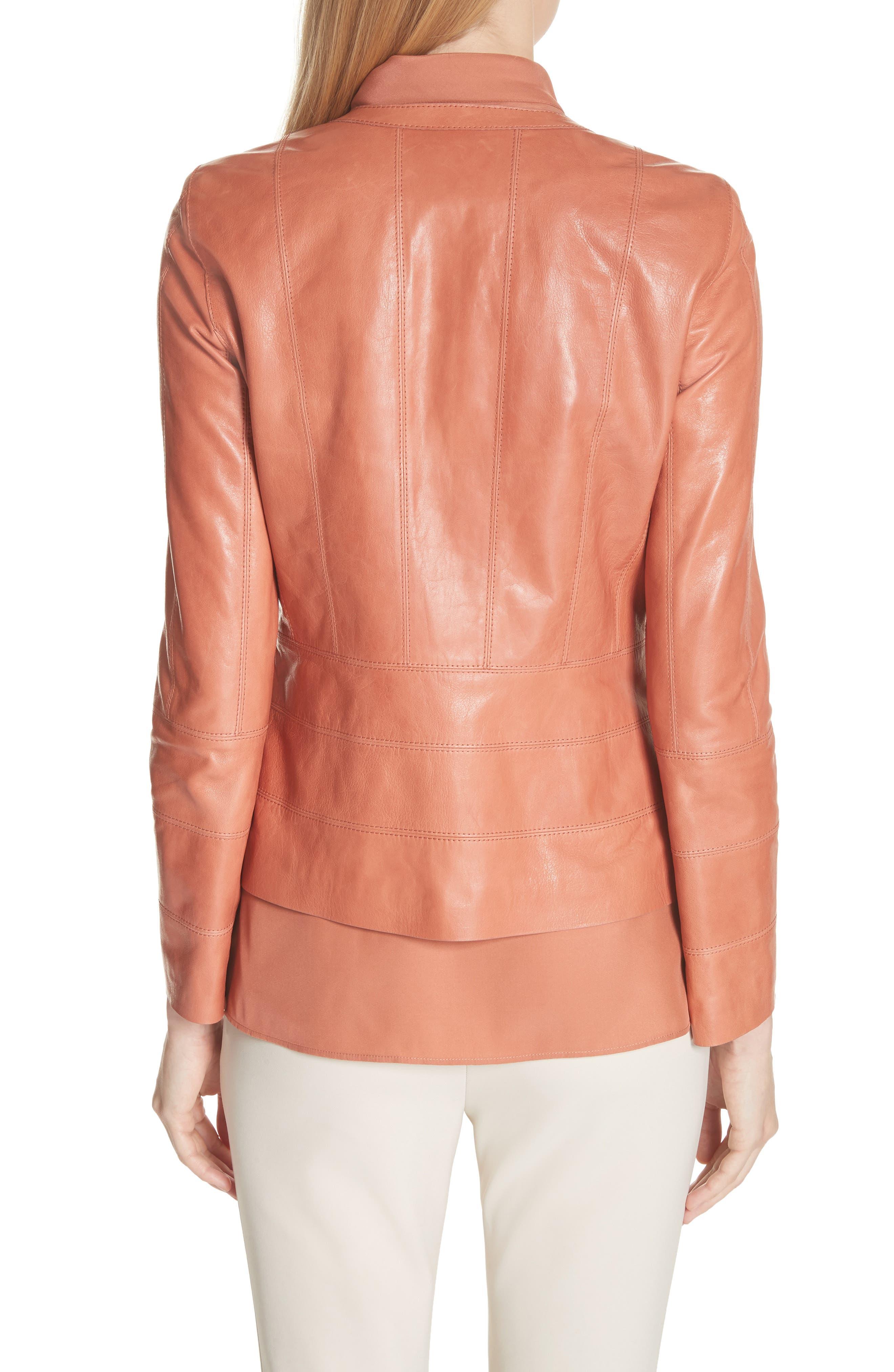 Courtney Glazed Lambskin Leather Jacket,                             Alternate thumbnail 2, color,                             Adobe