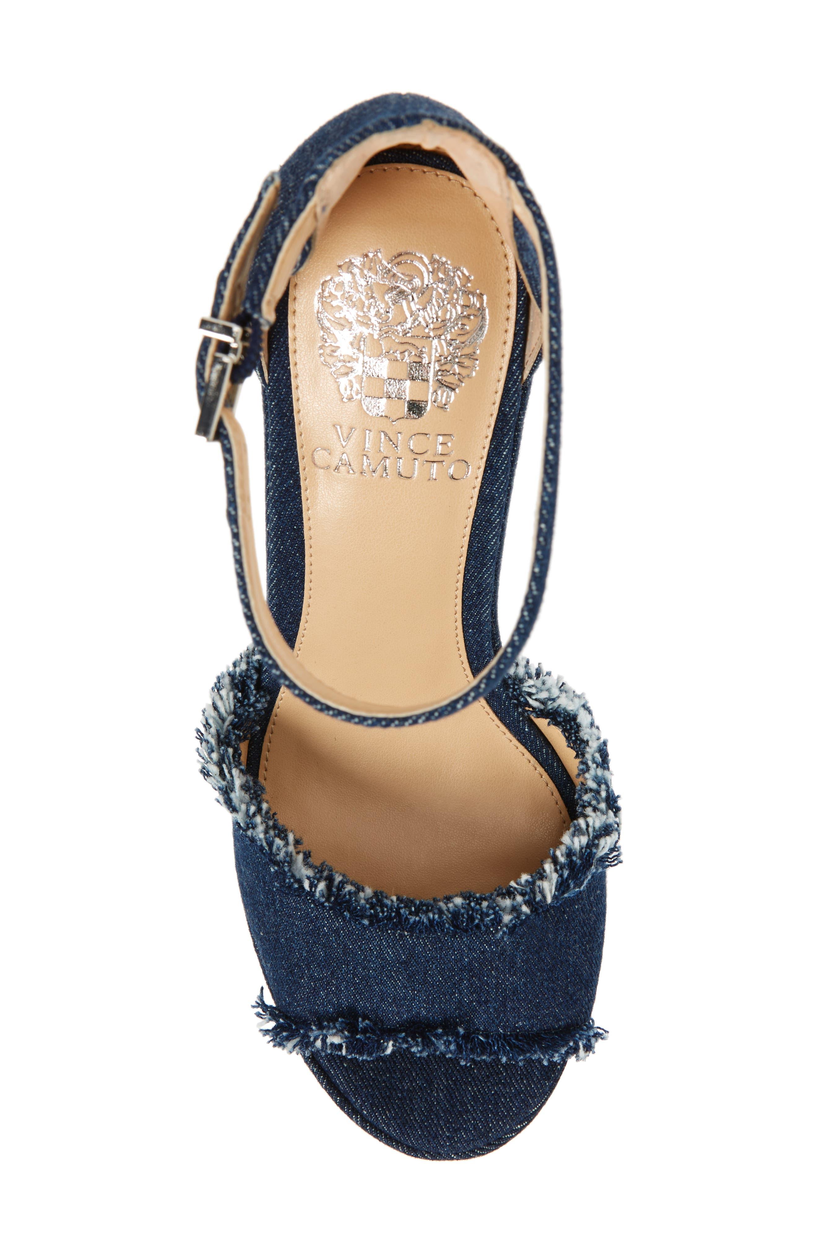 Tatchen Ankle Strap Platform Sandal,                             Alternate thumbnail 5, color,                             Dark Blue Denim