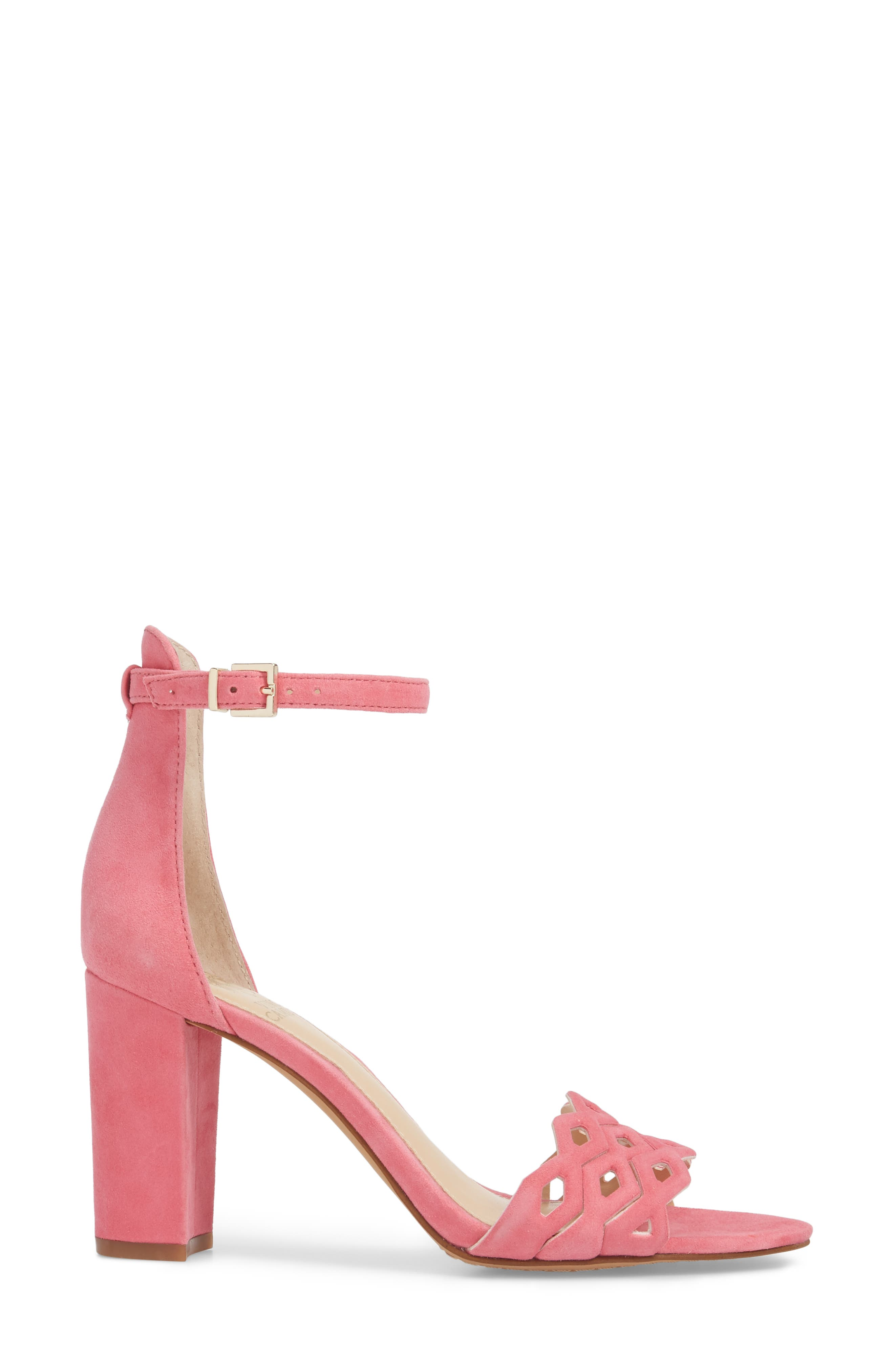 Caveena Block Heel Sandal,                             Alternate thumbnail 3, color,                             Soft Pink Suede