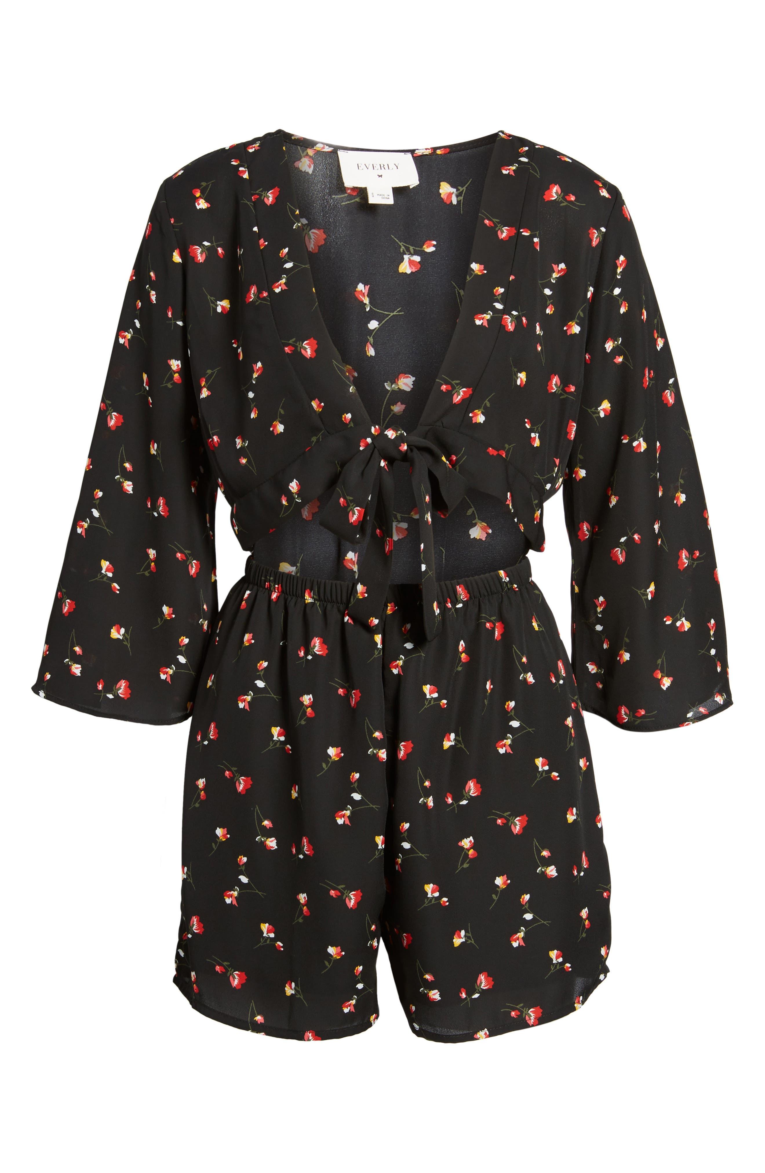 Tie Front Cutout Romper,                             Alternate thumbnail 5, color,                             Black Floral