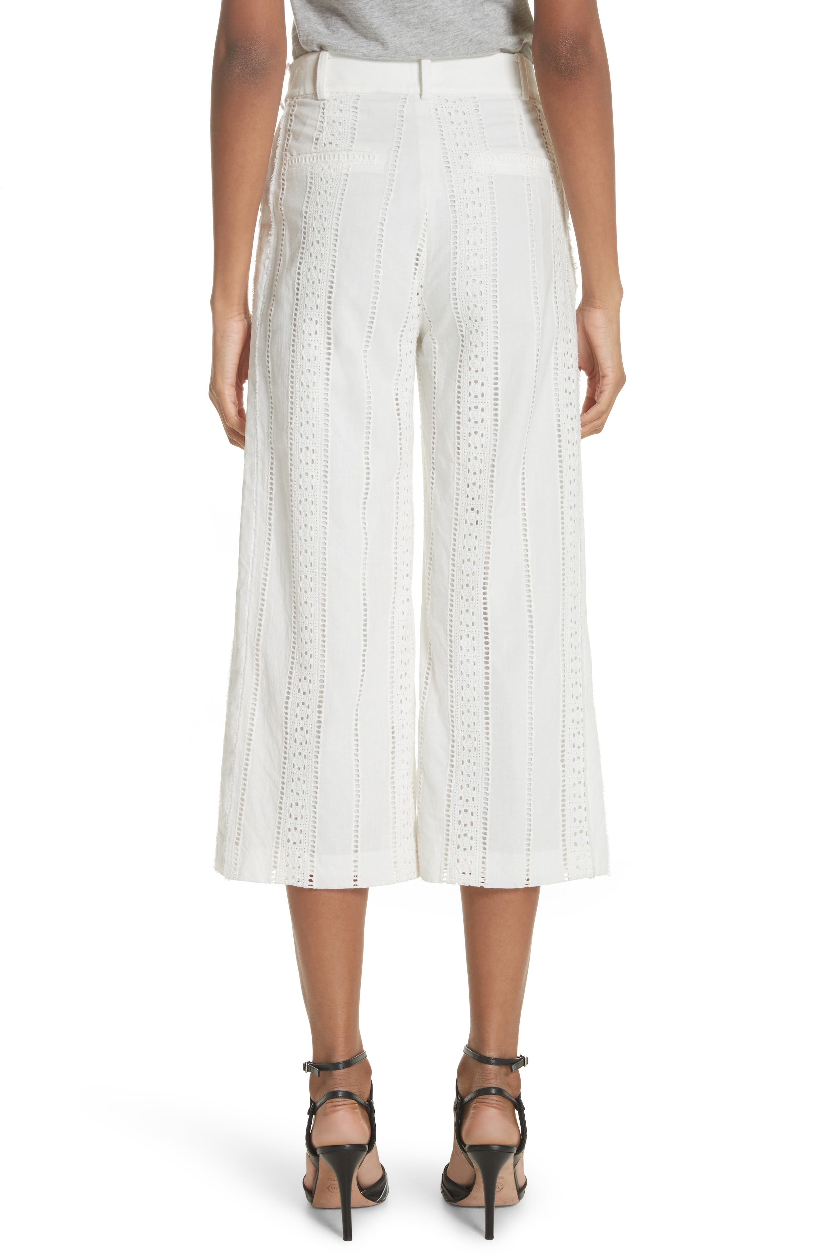 Leta Eyelet Gaucho Pants,                             Alternate thumbnail 2, color,                             White