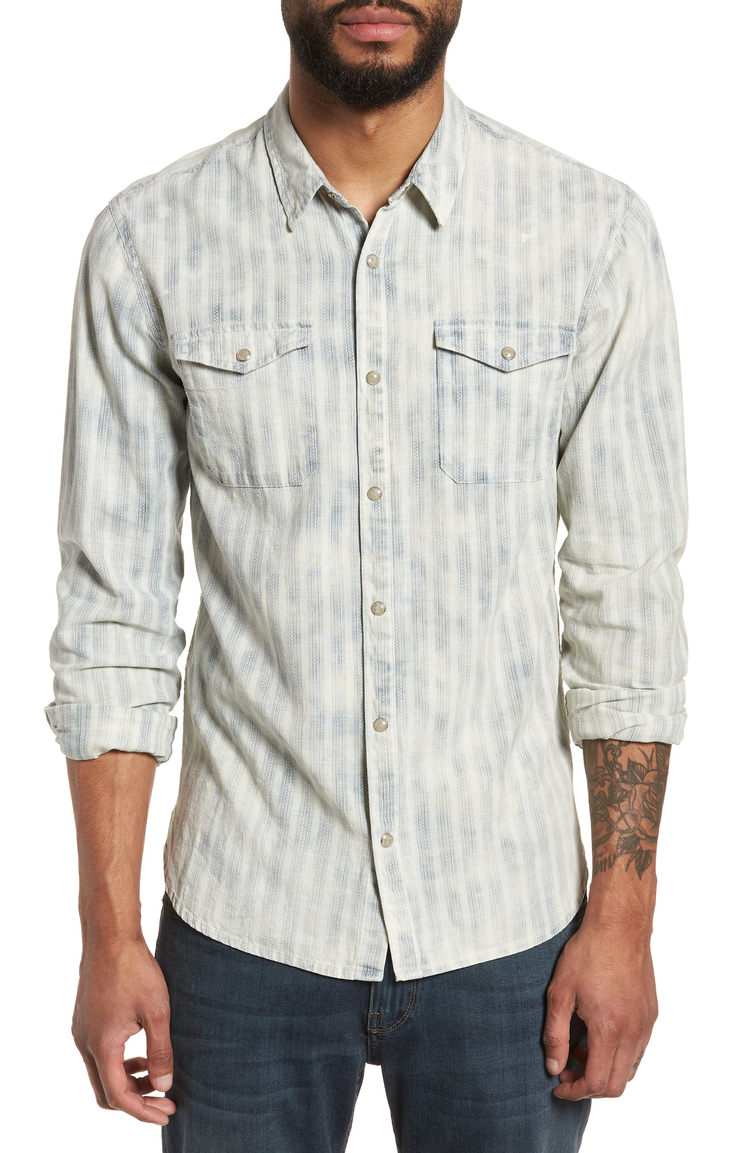 Extra Slim Fit Western Shirt,                             Main thumbnail 1, color,                             Reflection Grey