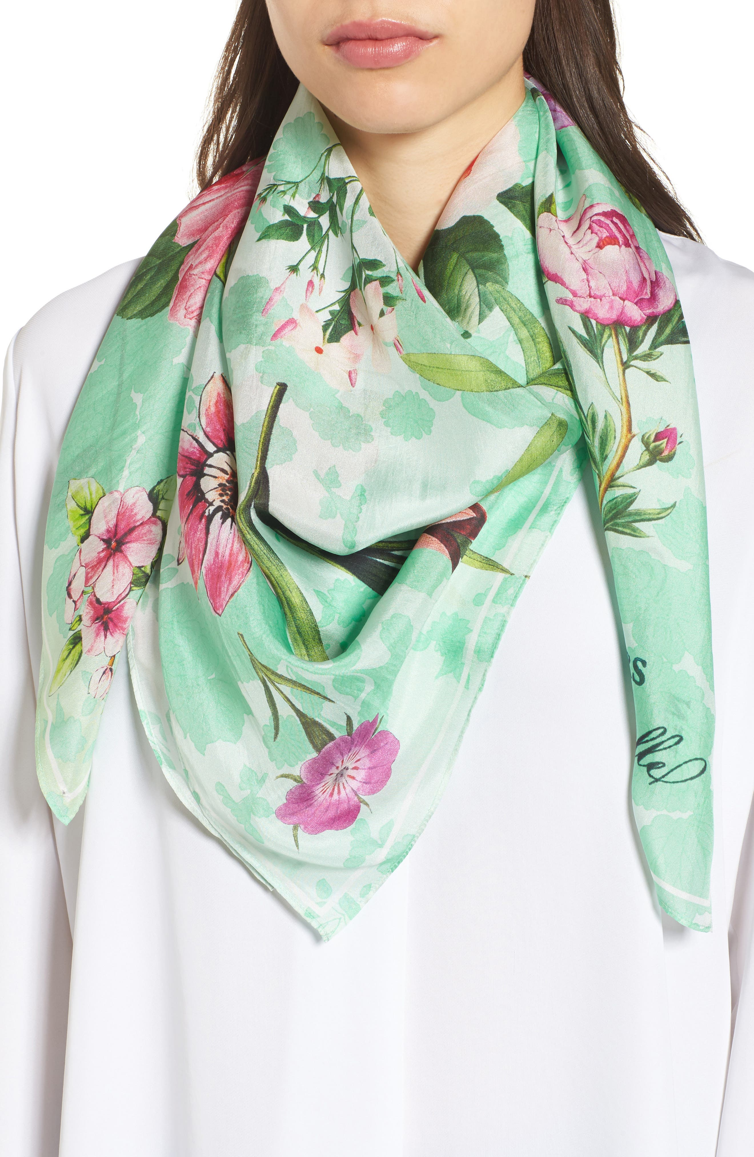 Print Square Silk Scarf,                         Main,                         color, Green Magical Botanicals Print