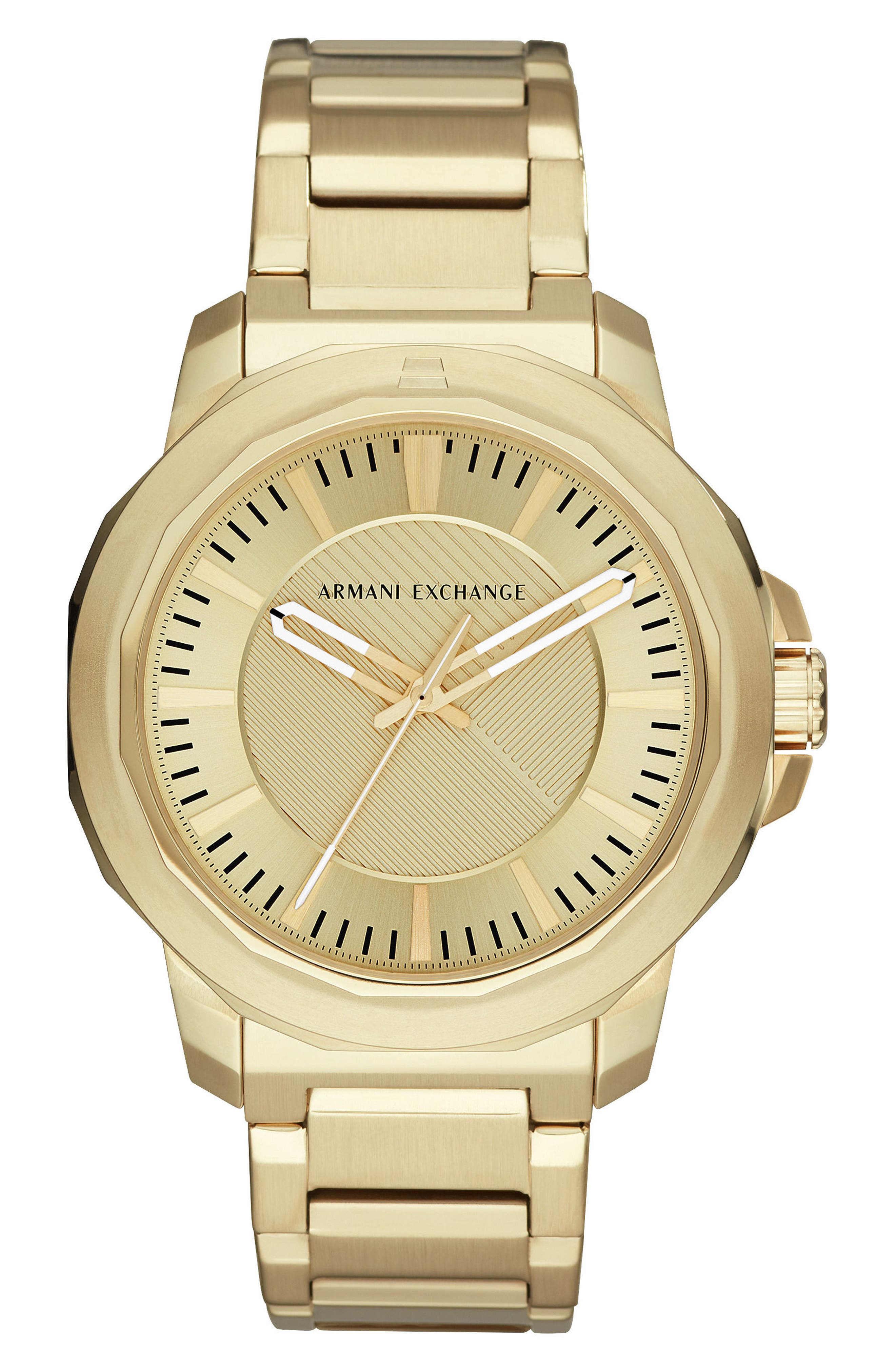 Three-Hand Bracelet Watch, 44mm x 52mm,                         Main,                         color, Gold/ Gold