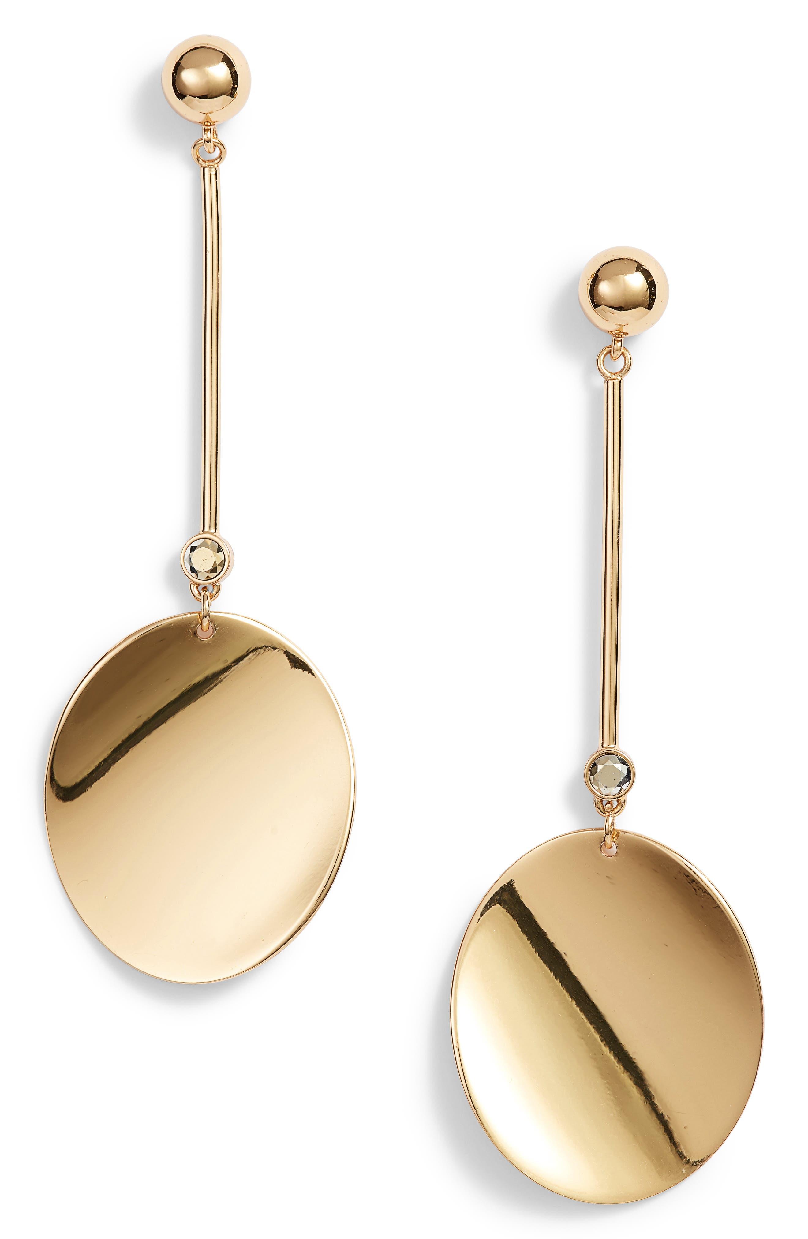 gold standard linear earrings,                             Main thumbnail 1, color,                             Gold