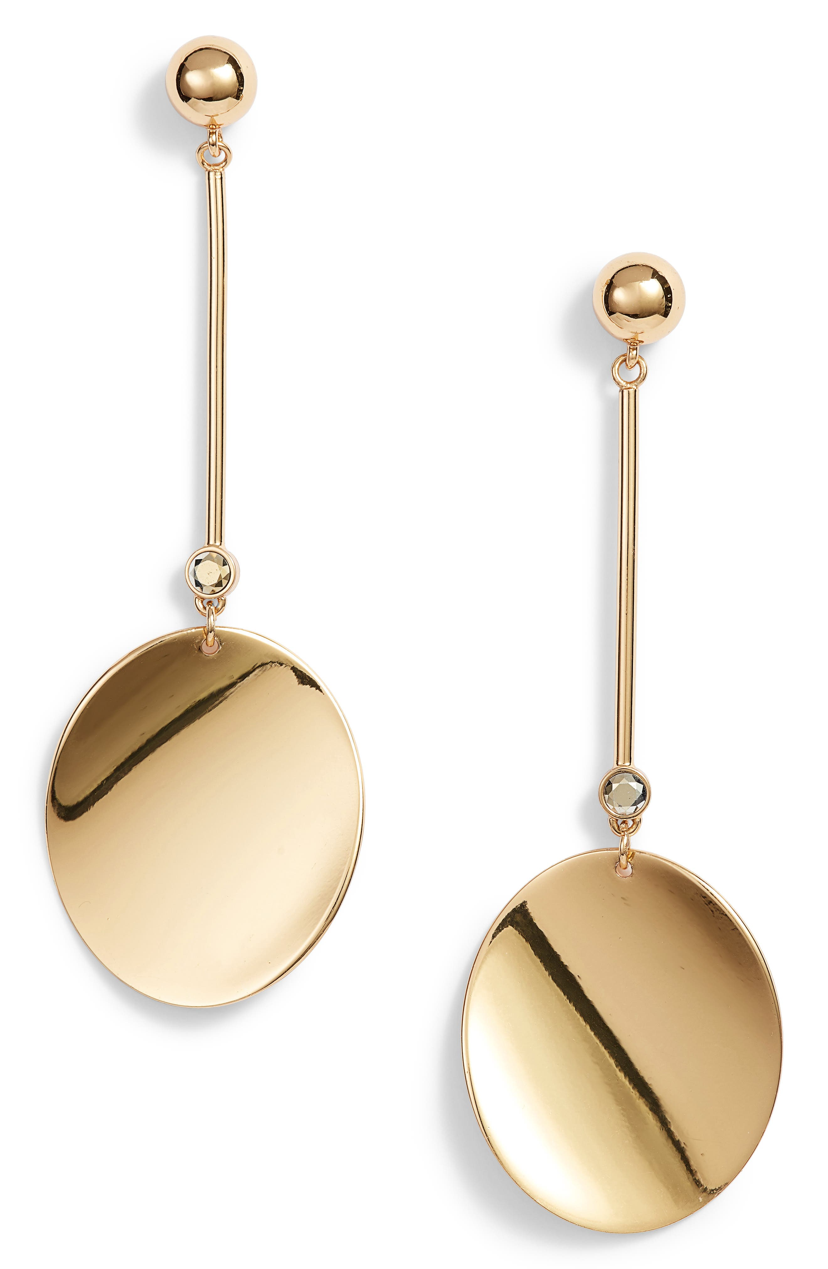 gold standard linear earrings,                         Main,                         color, Gold