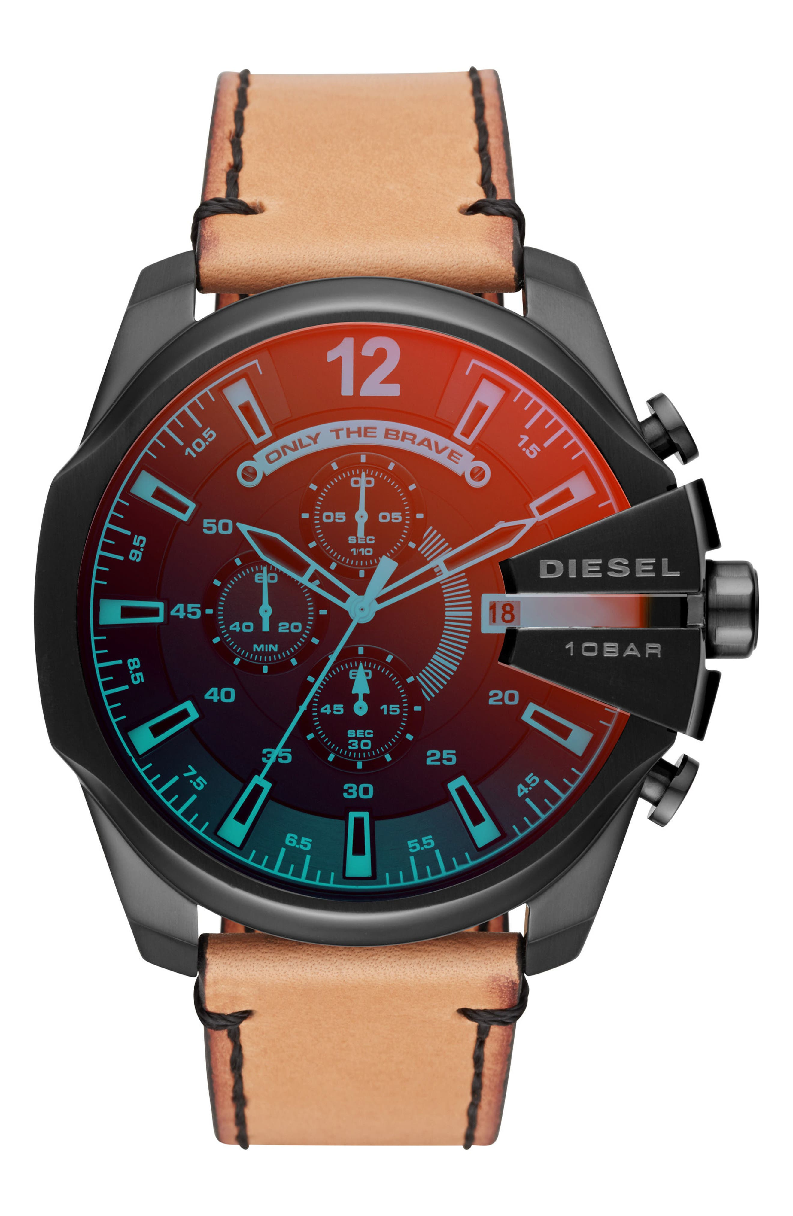 Mega Chief Chronograph Leather Strap Watch, 51mm,                         Main,                         color, Red/ Tan