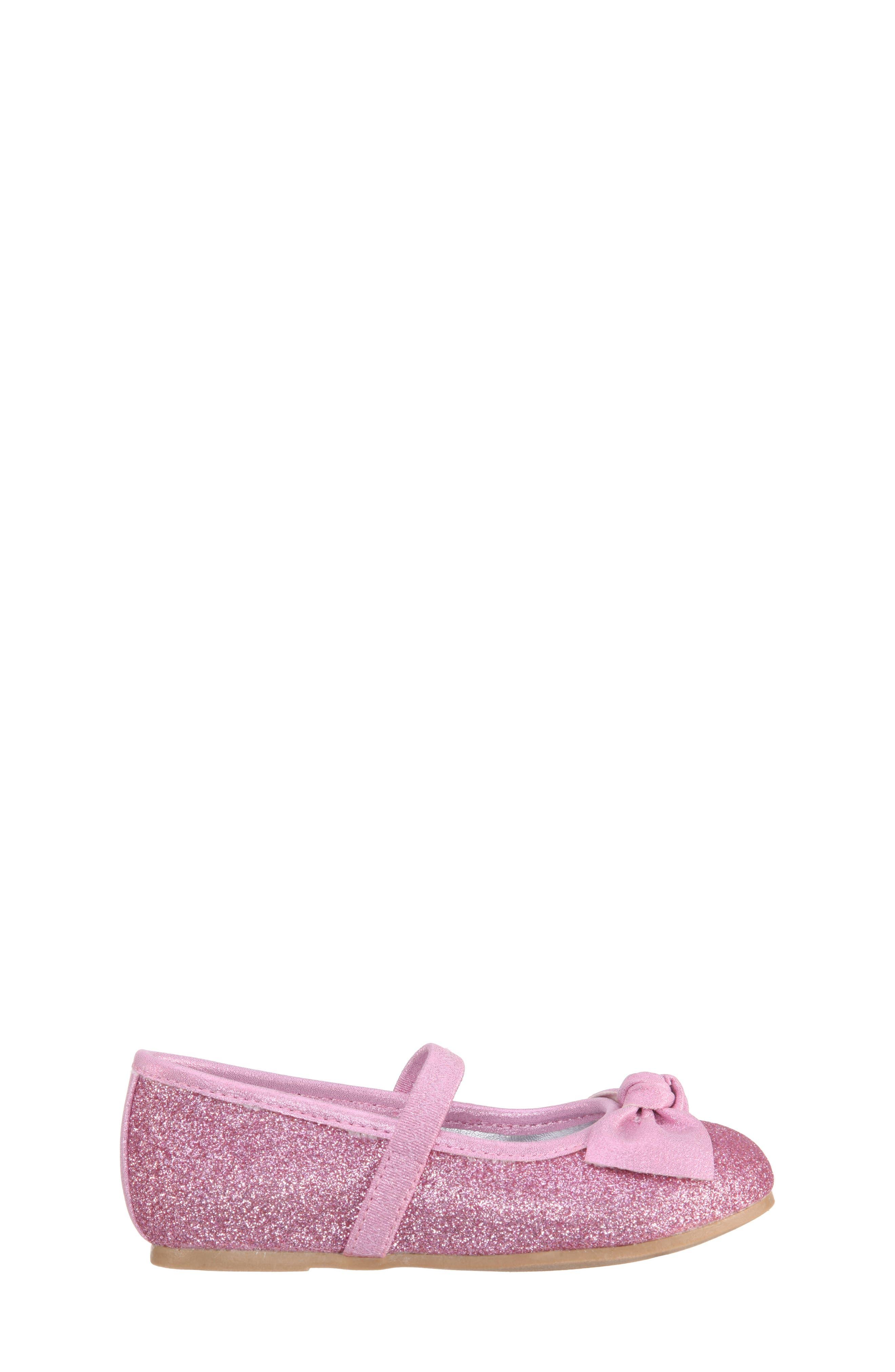 Larabeth-T Glitter Bow Ballet Flat,                             Alternate thumbnail 3, color,                             Light Pink Metallic/ Glitter