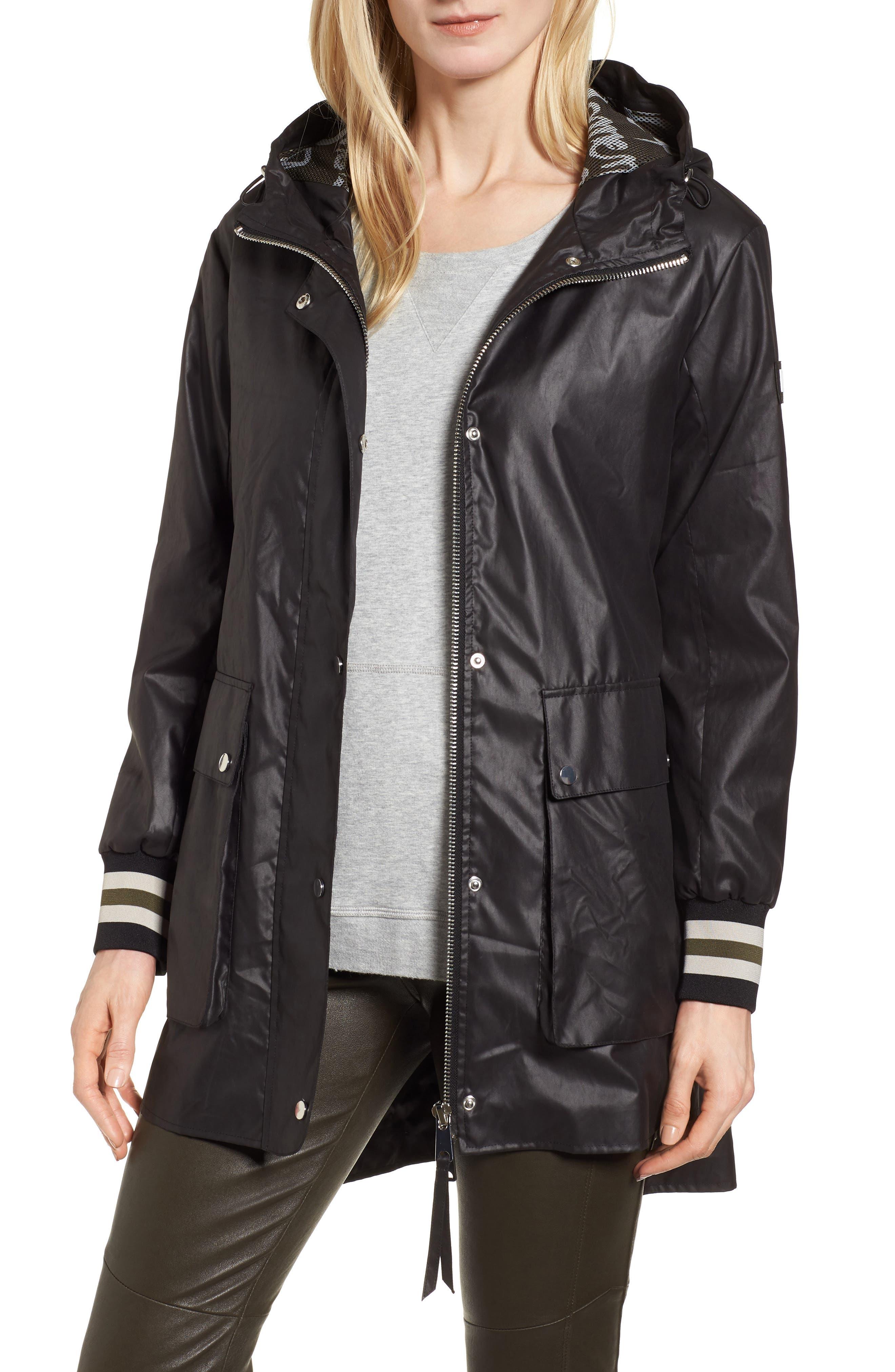 Hooded Raincoat,                         Main,                         color, Black