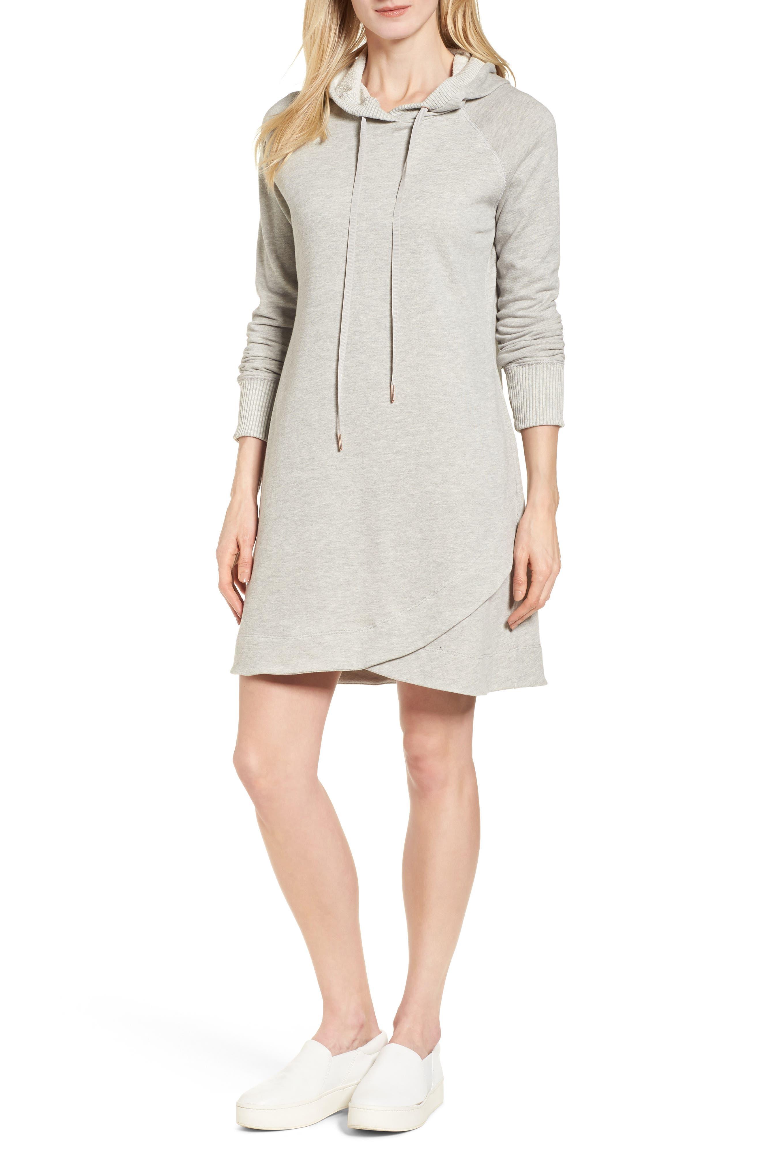 Caslon® Off-Duty Hooded Sweatshirt Dress