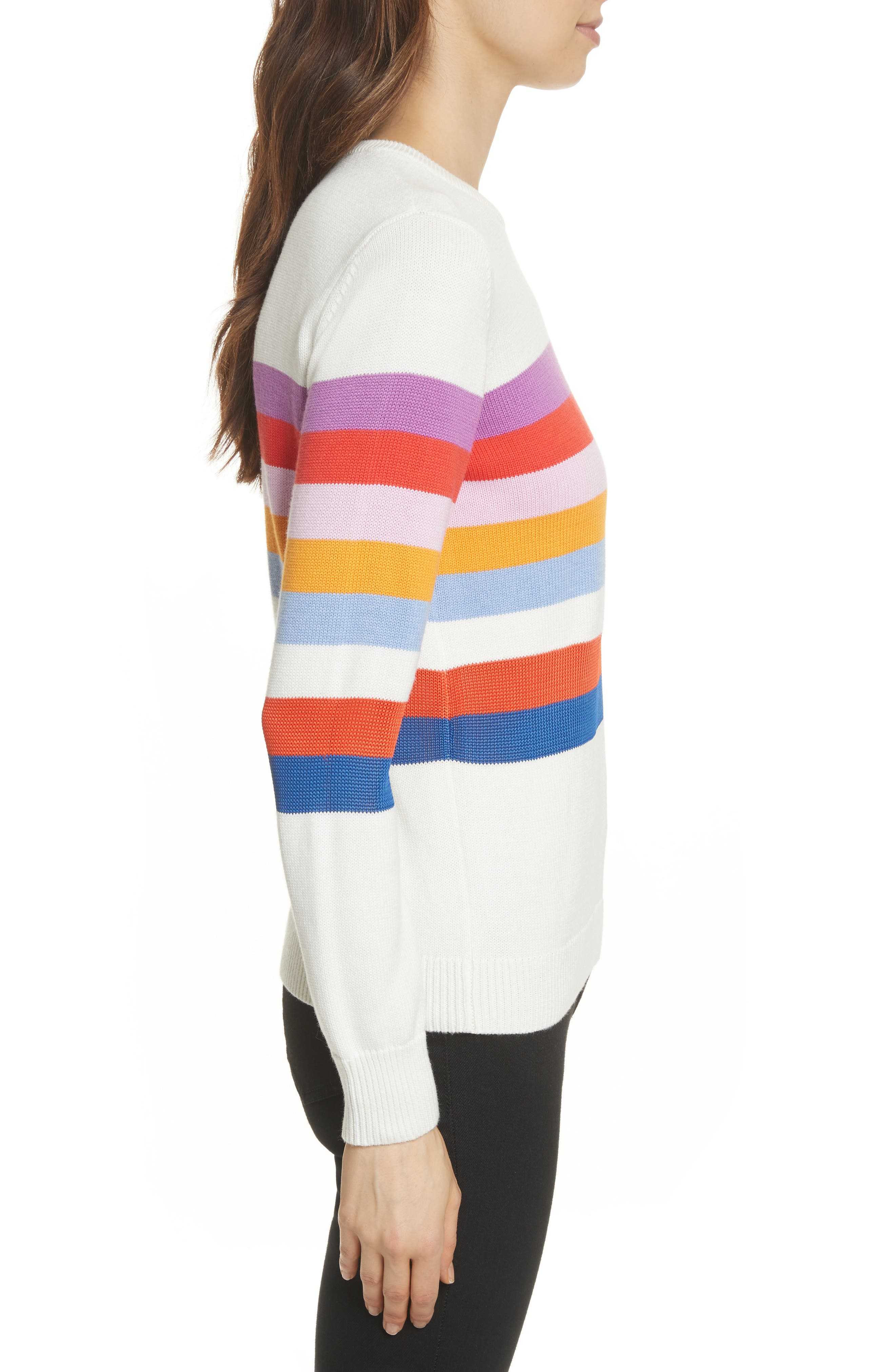 The Day Trip Stripe Sweater,                             Alternate thumbnail 3, color,                             Cream Multi