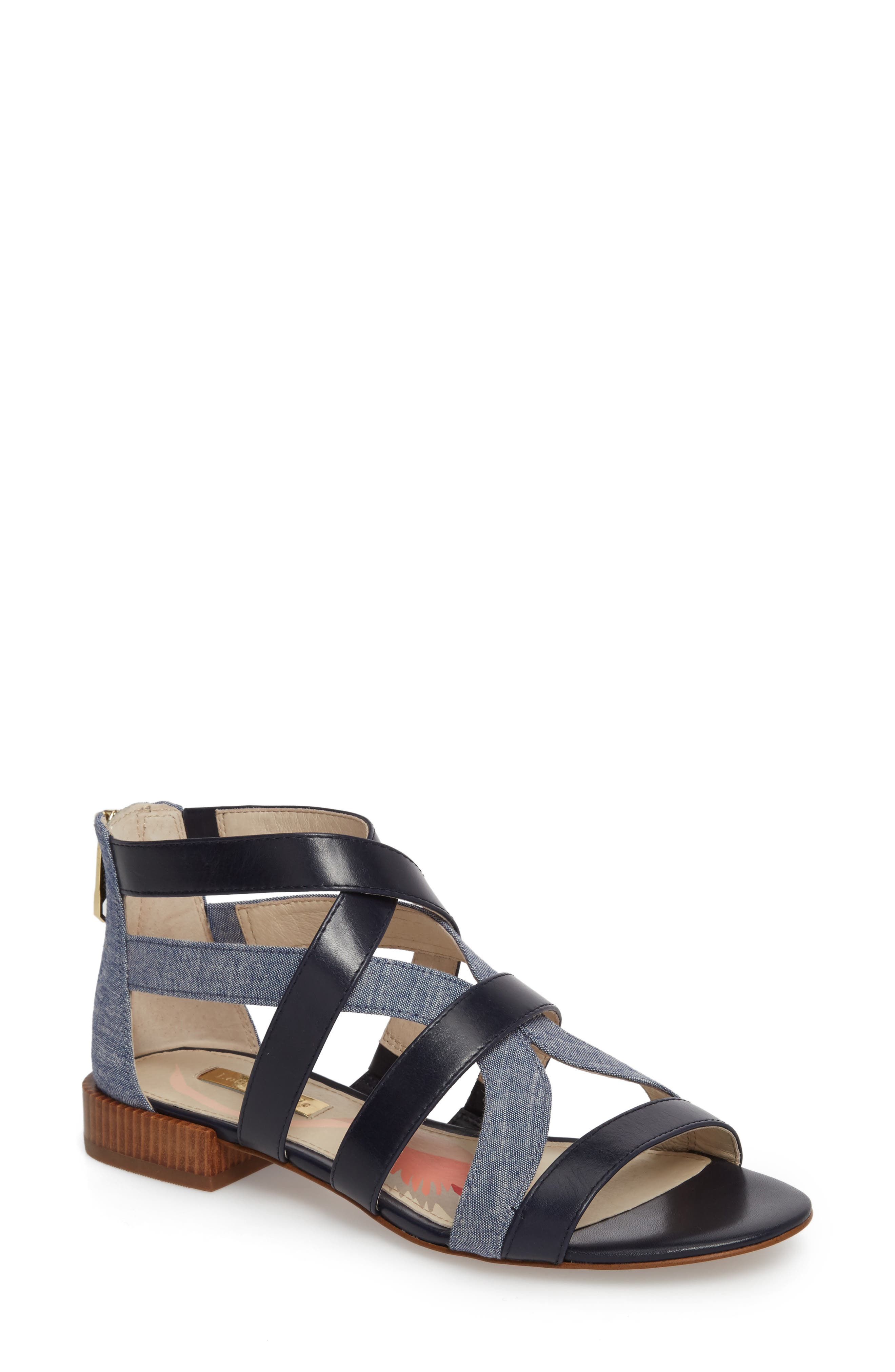 Almeyna Strappy Sandal,                             Main thumbnail 1, color,                             Blue Moon Leather